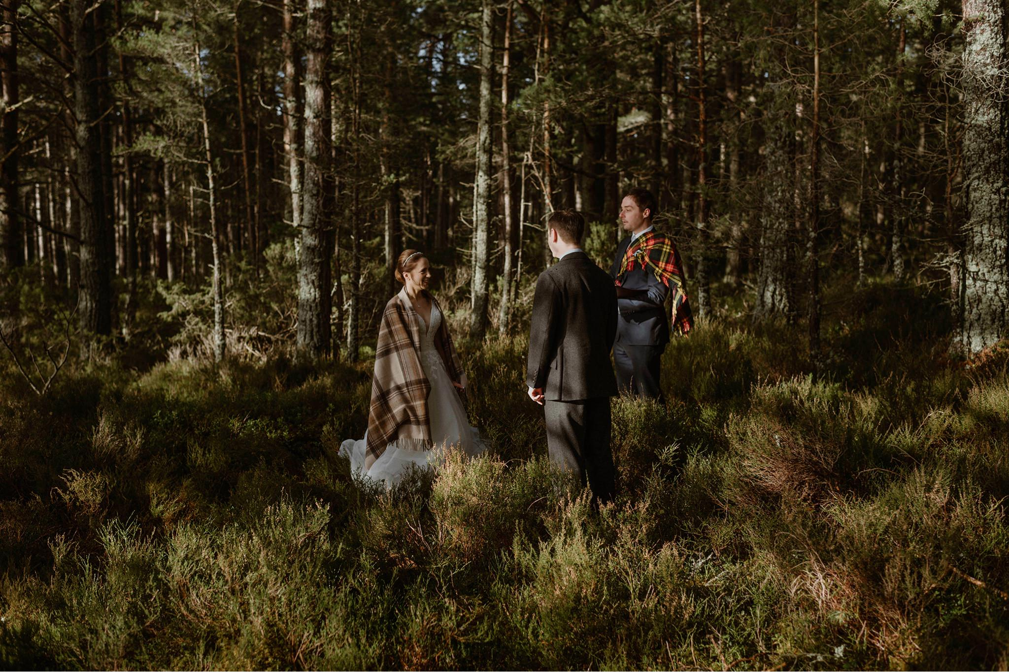 Elopement location in the Rothiemurchus forest Highlands Scotland