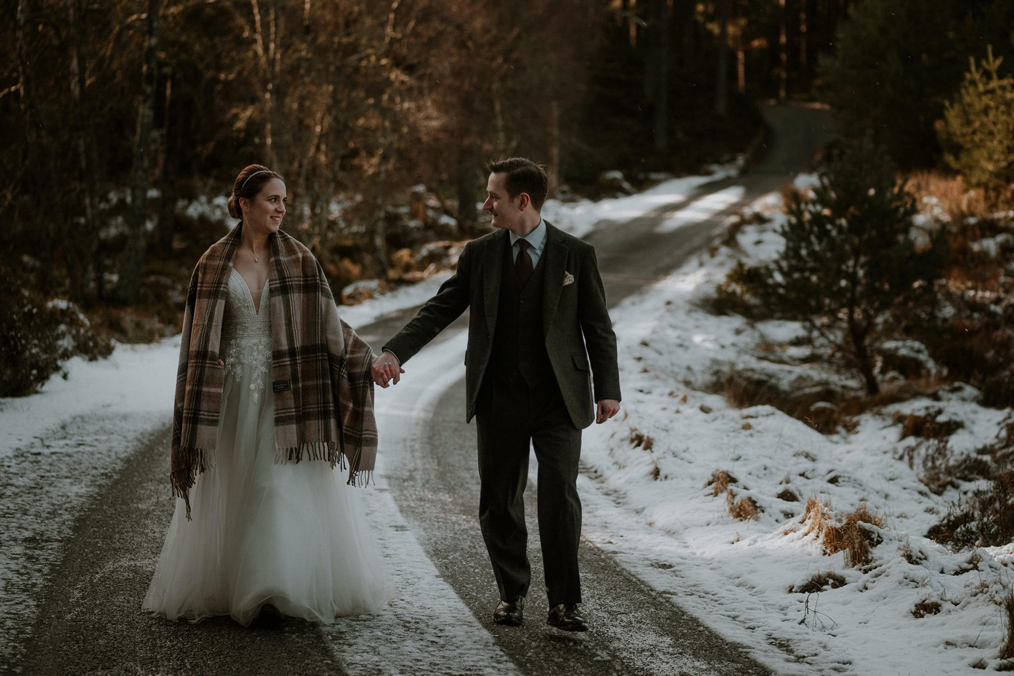 Winter elopement wedding Cairngorms