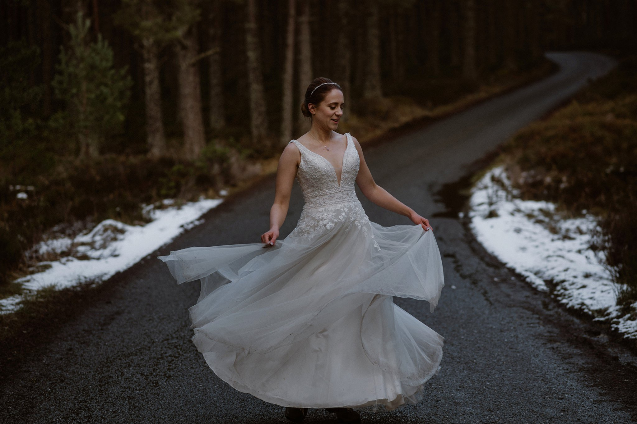 Wedding dress swirl in the Cairngorms forest