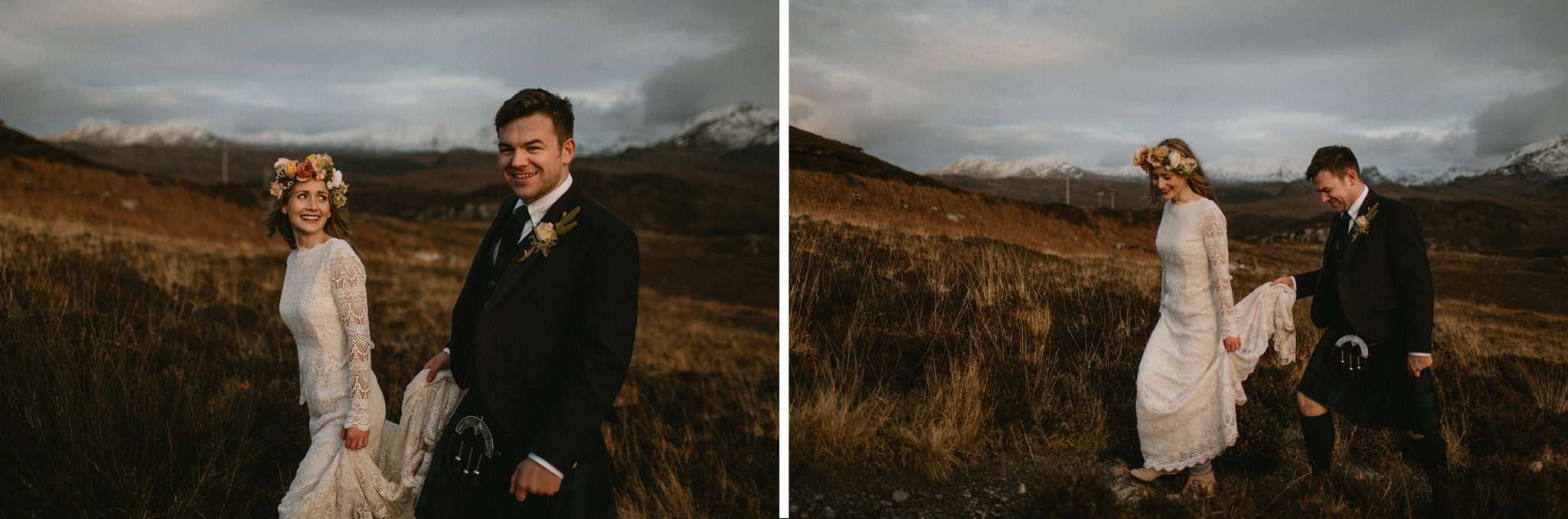 Scotland elopement married couple on hillside in Wester Ross