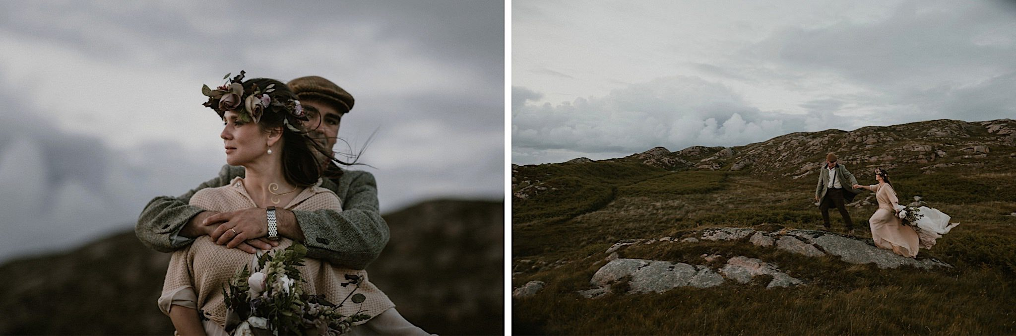Eloping in Scotland elopement couple on hillside on the Isle of Mull