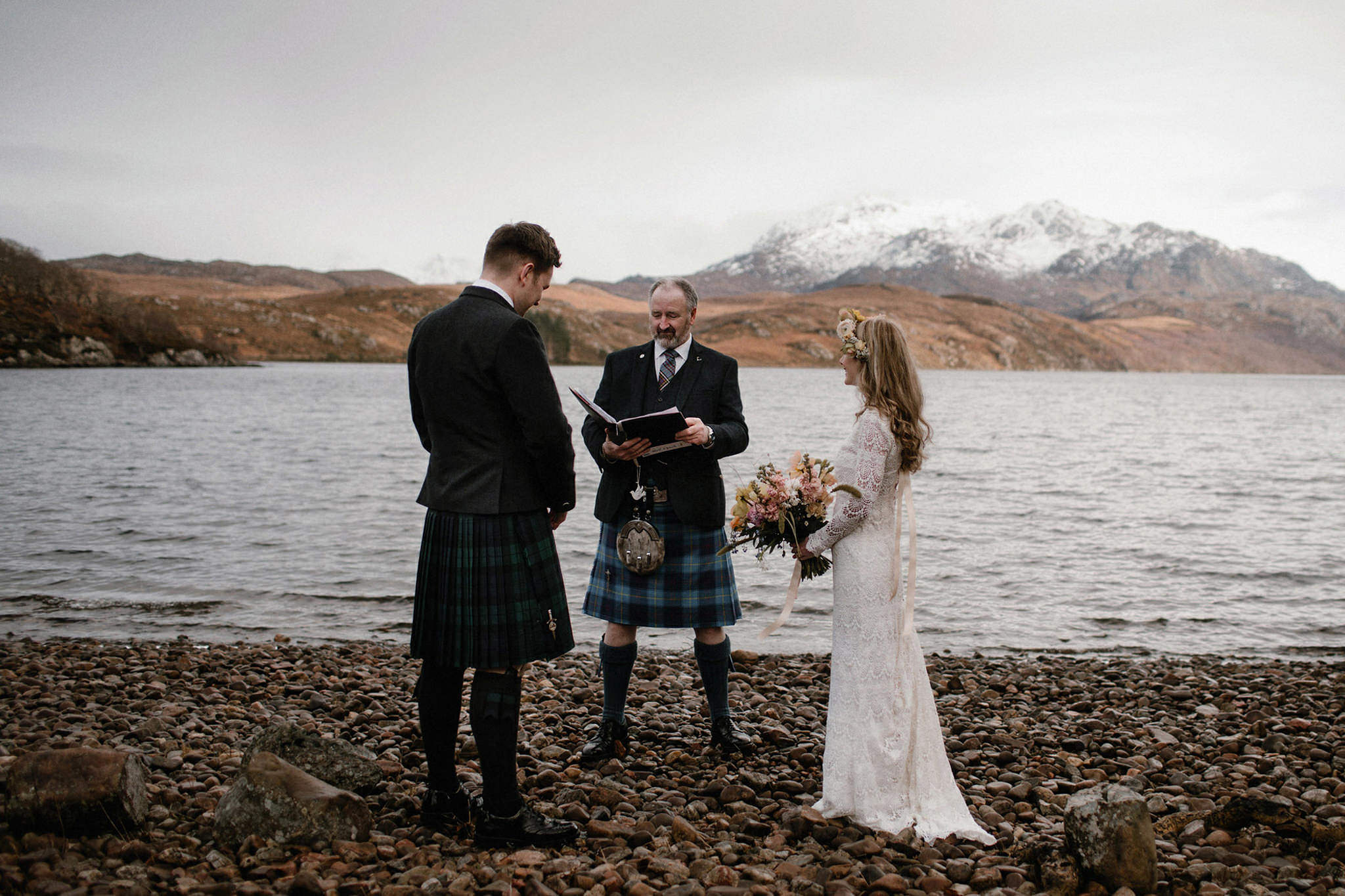 Eloping in Scotland elopement ceremony on the shores of Loch Maree in Scotland