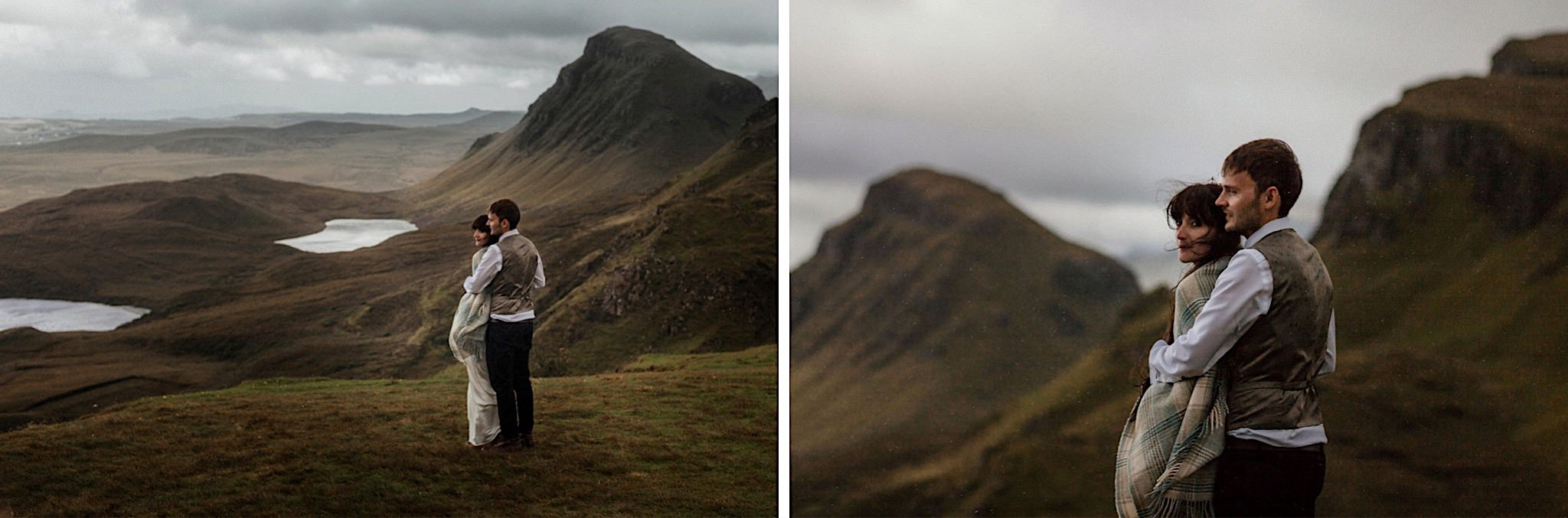 Isle of Skye elopement couple standing on the Quiraing