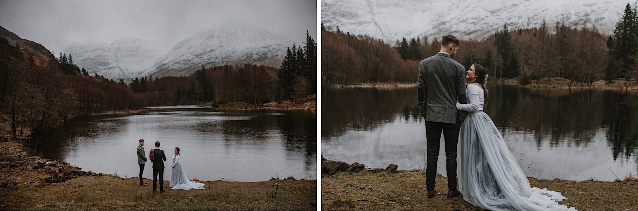 Glencoe elopement ceremony by loch with snow covered mountains in the distance