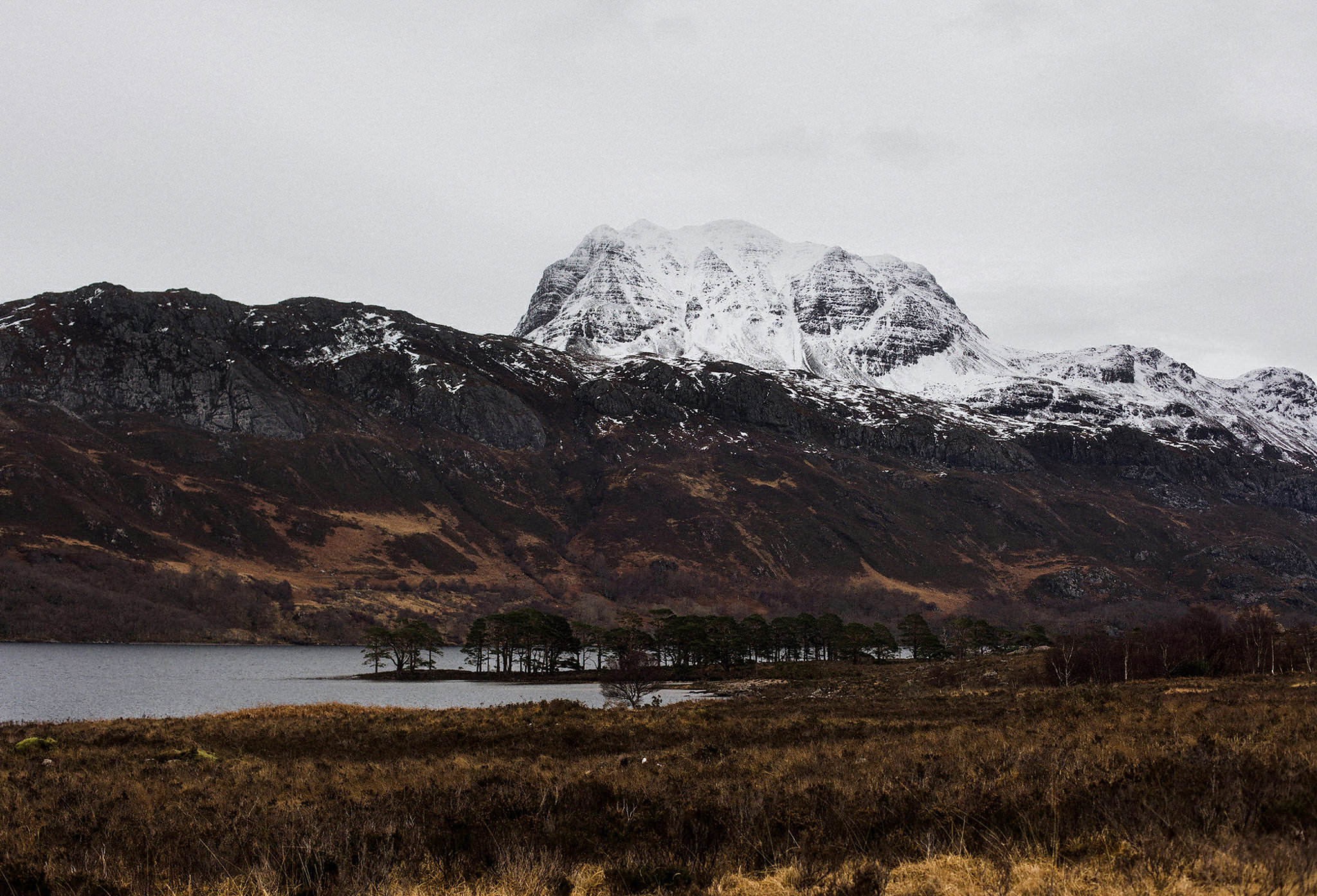 Scotland elopement locations Wester Ross loch and snow covered mountians