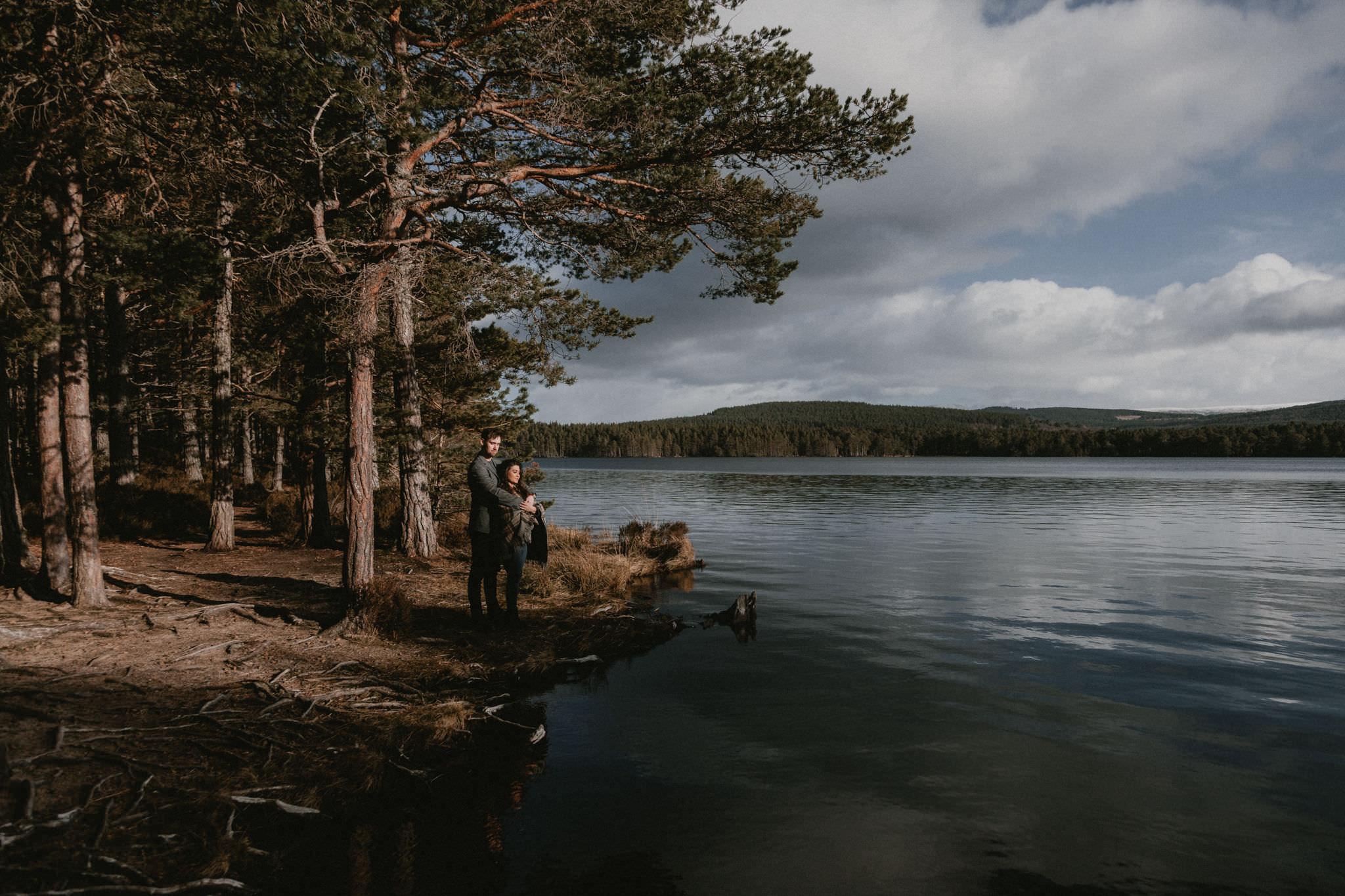 Scottish elopement couple standing by Loch an Eilean