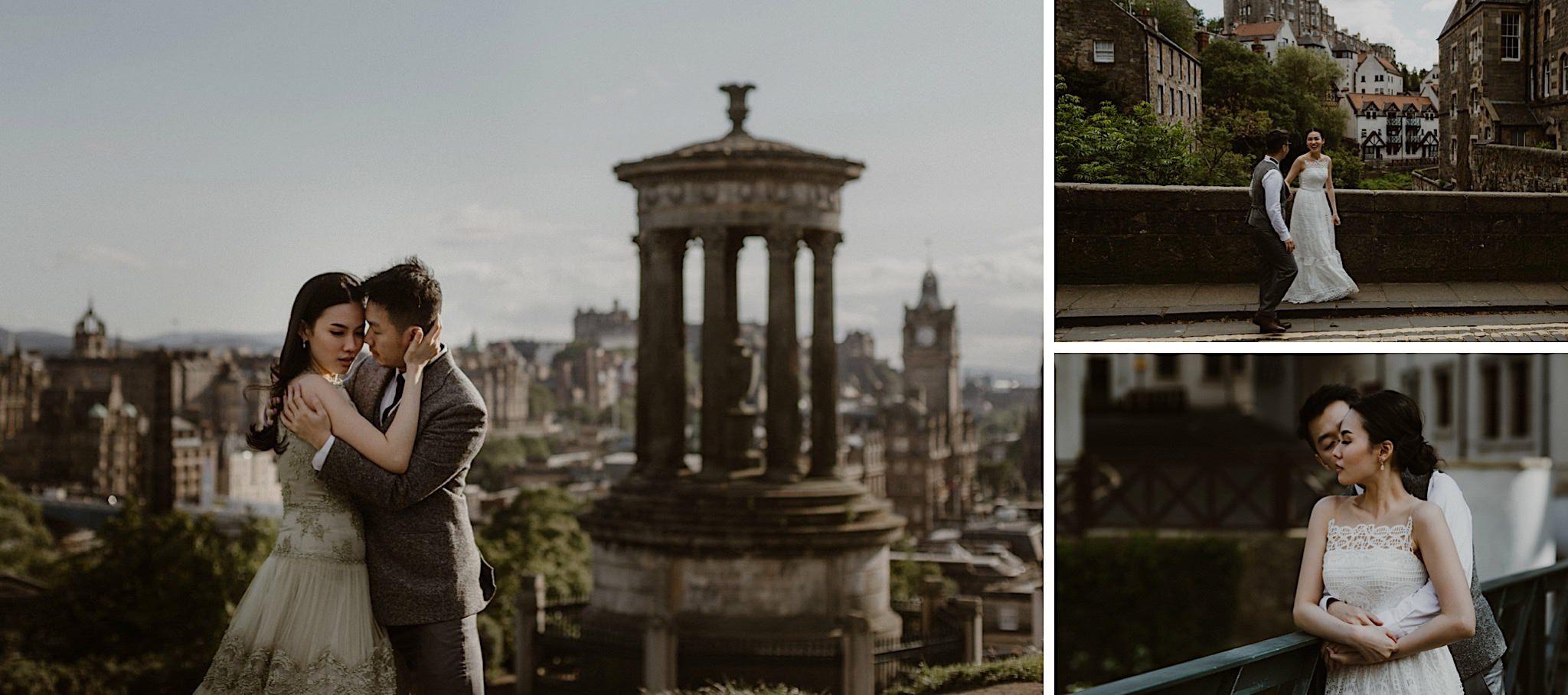 Scottish elopement couple exploring Edinburgh including Stockbridge and Carlton Hill
