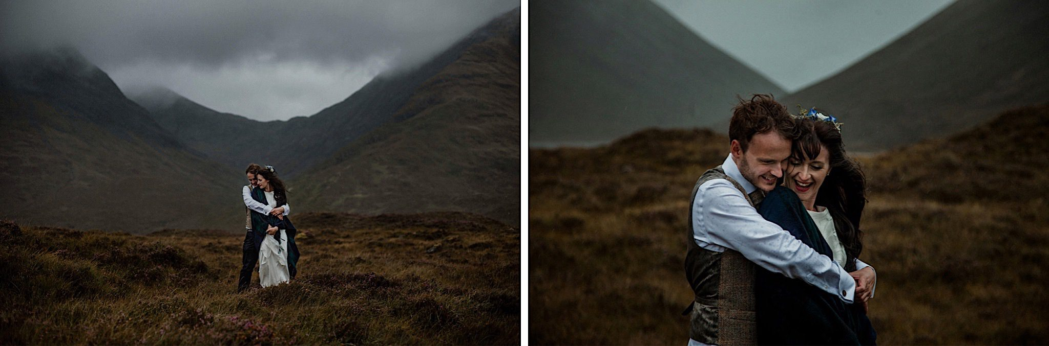 Isle of Skye elopement couple embrace in front of a misty mountainous backdrop