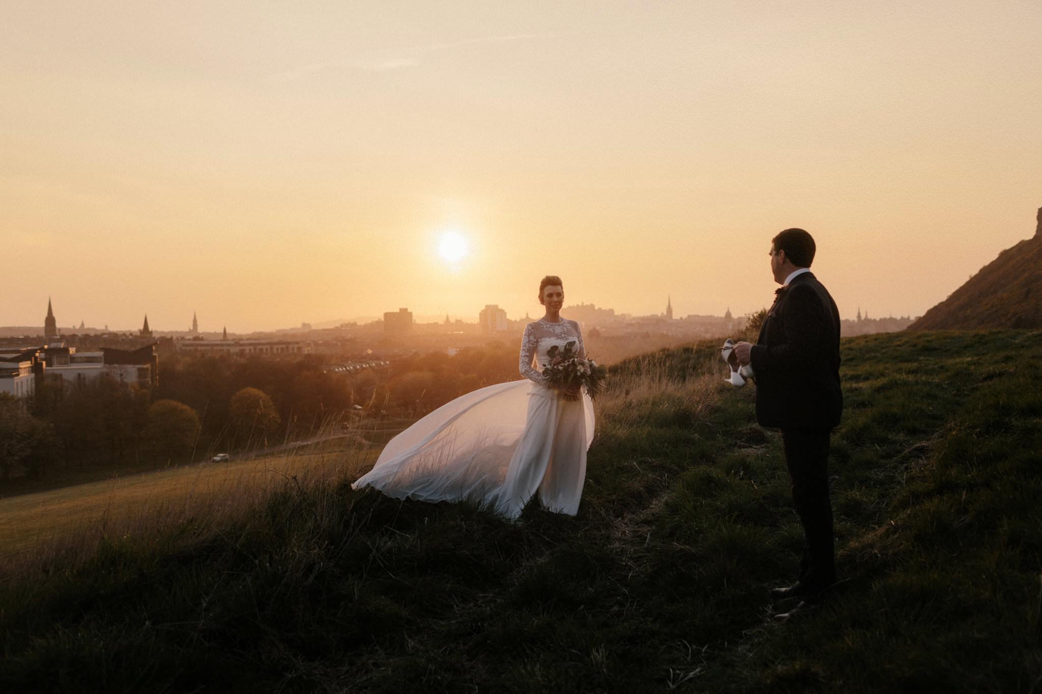 Edinburgh wedding photographer couple on Arthur's seat at sunset