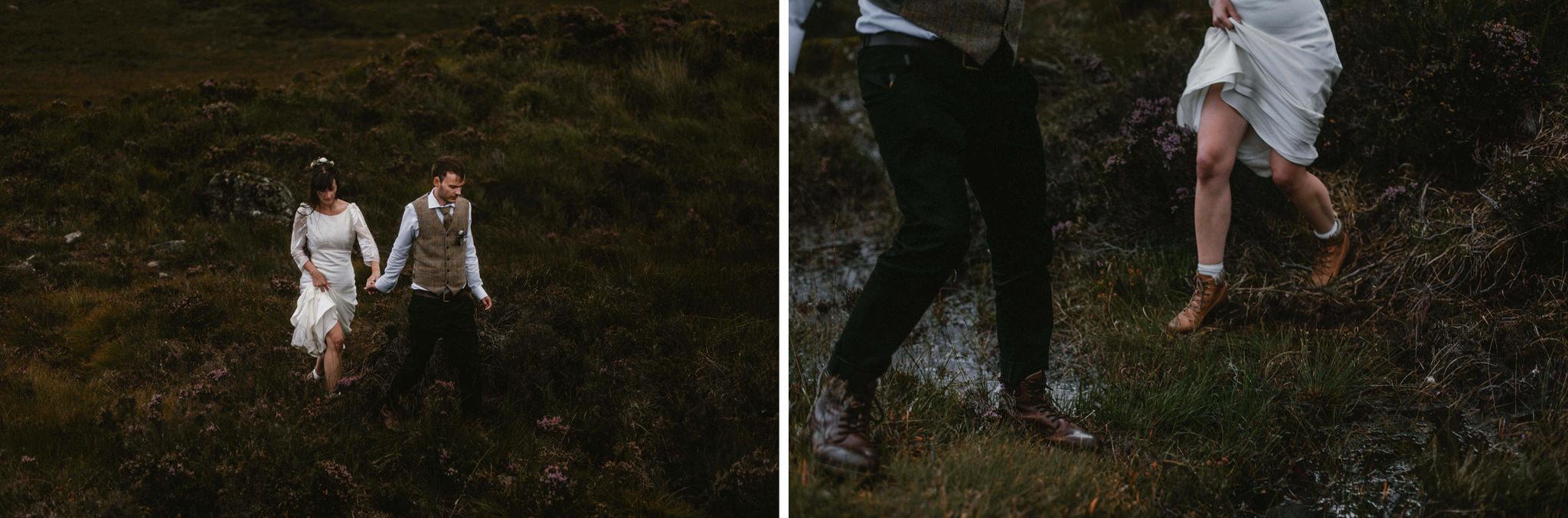 Isle of Skye elopement couple explore muddy hillside