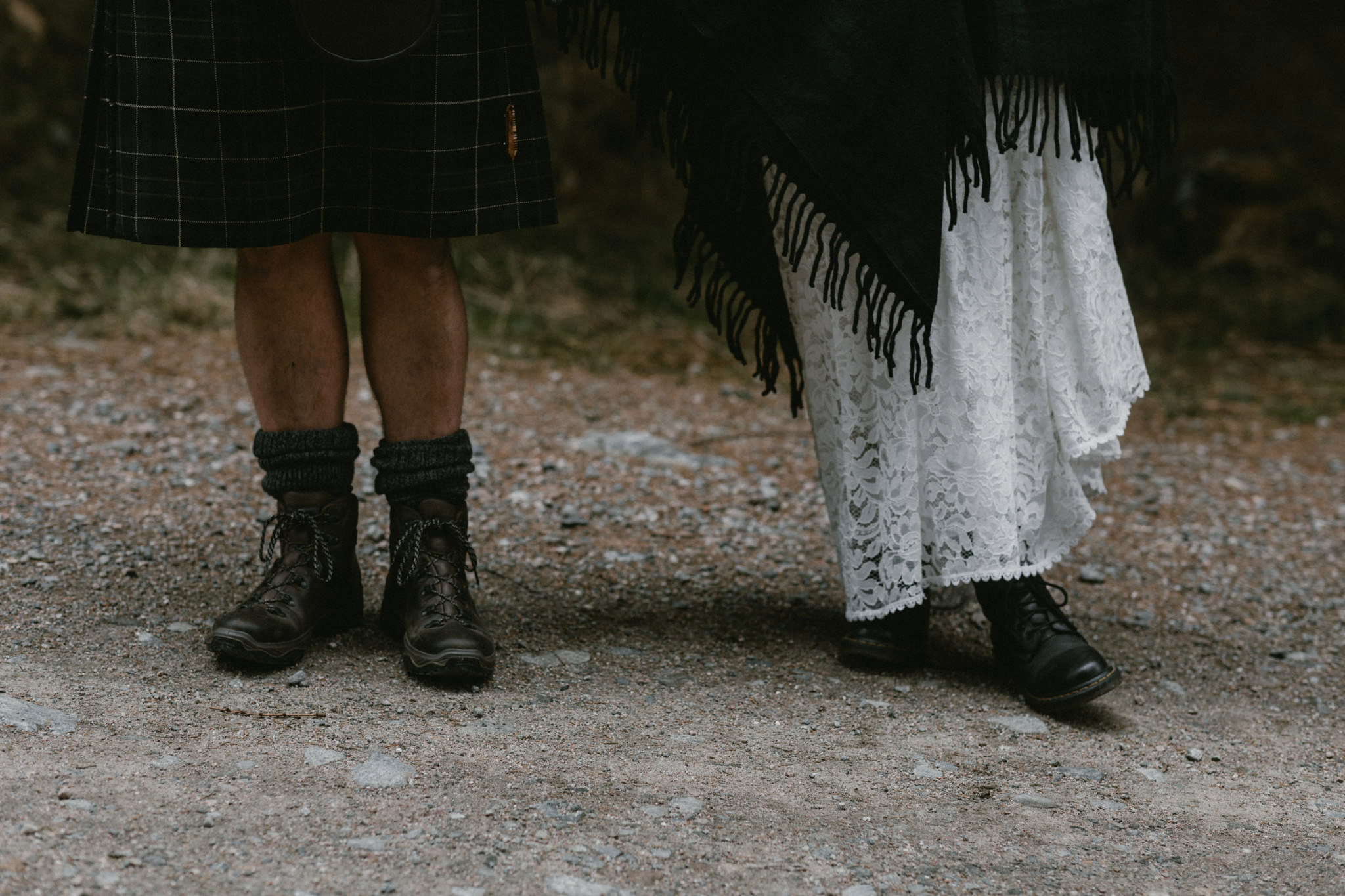 Elope in Scotland couple wearing walking boots