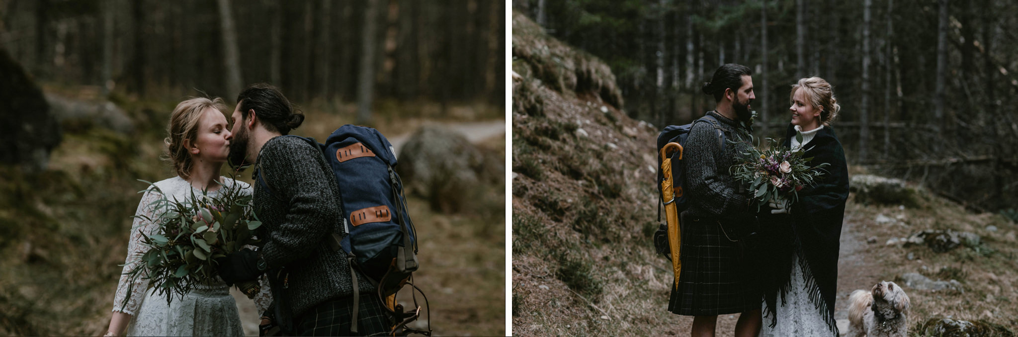 Elope in Scotland couple wearing rucksacks embrace in the woods