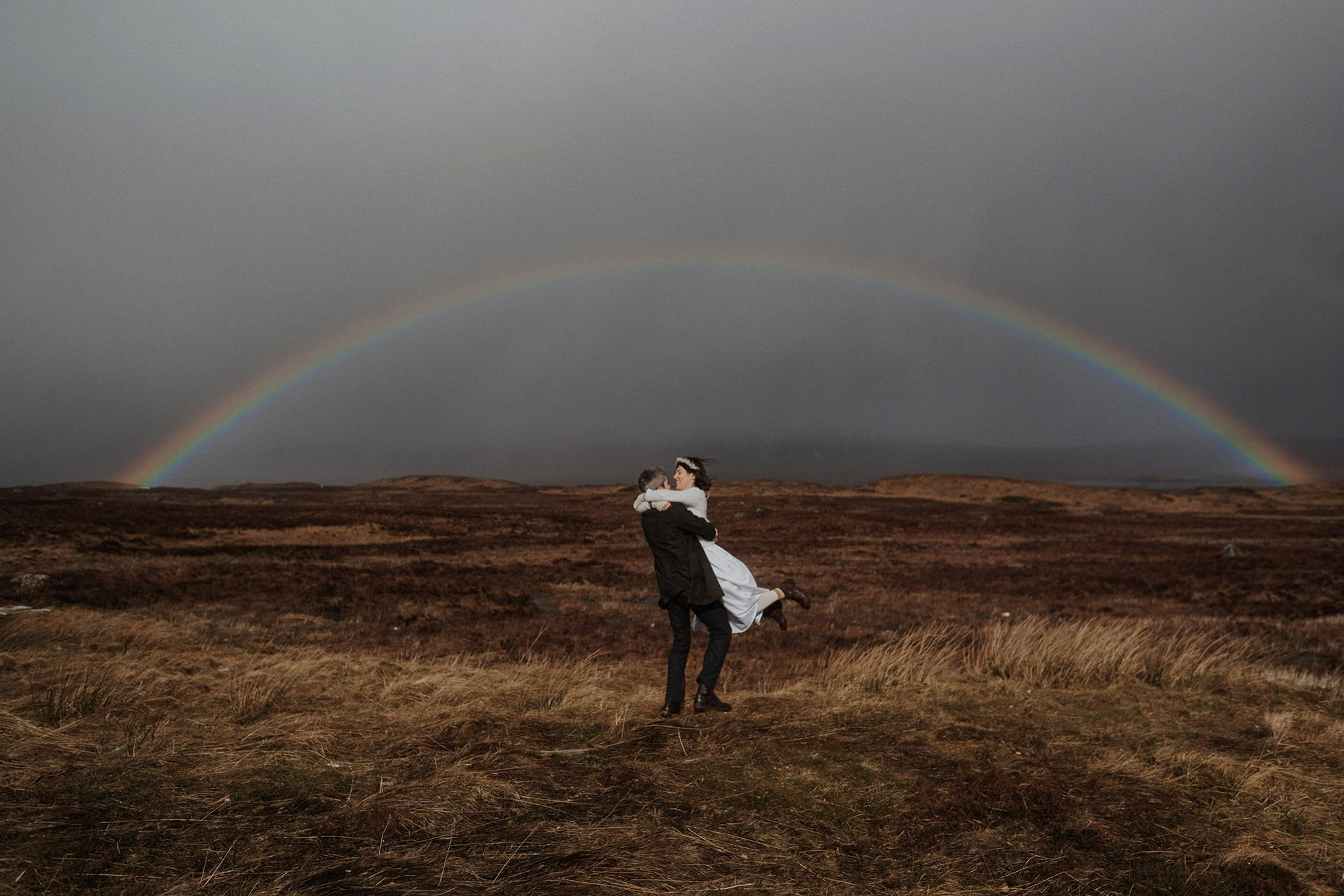 Rainbow over Rannoch Moor Glencoe elopement