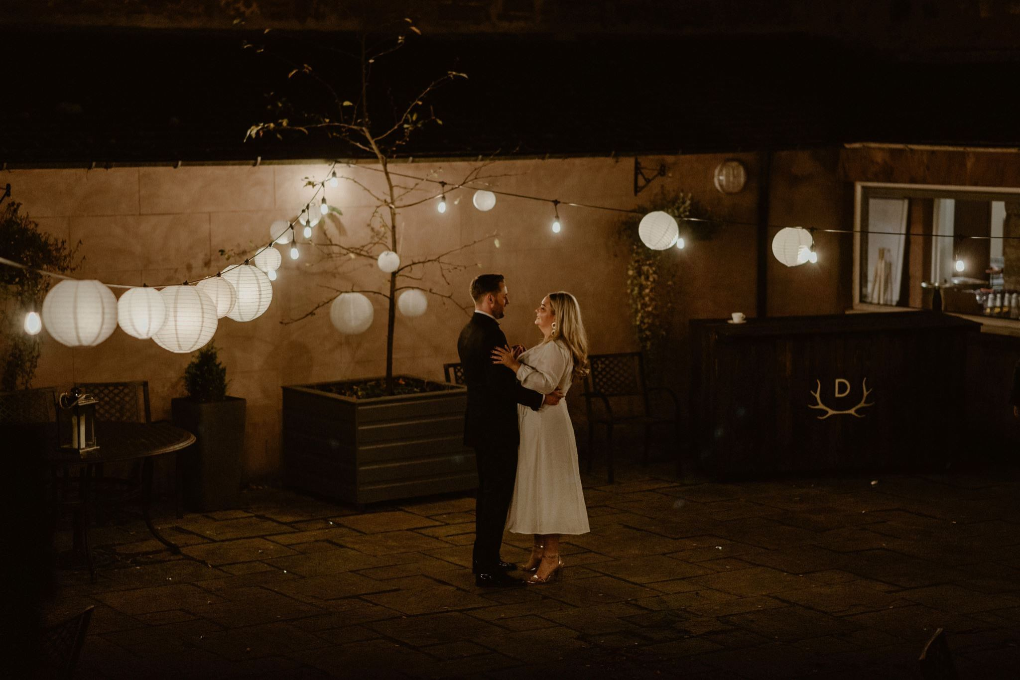 First dance under festoon lighting