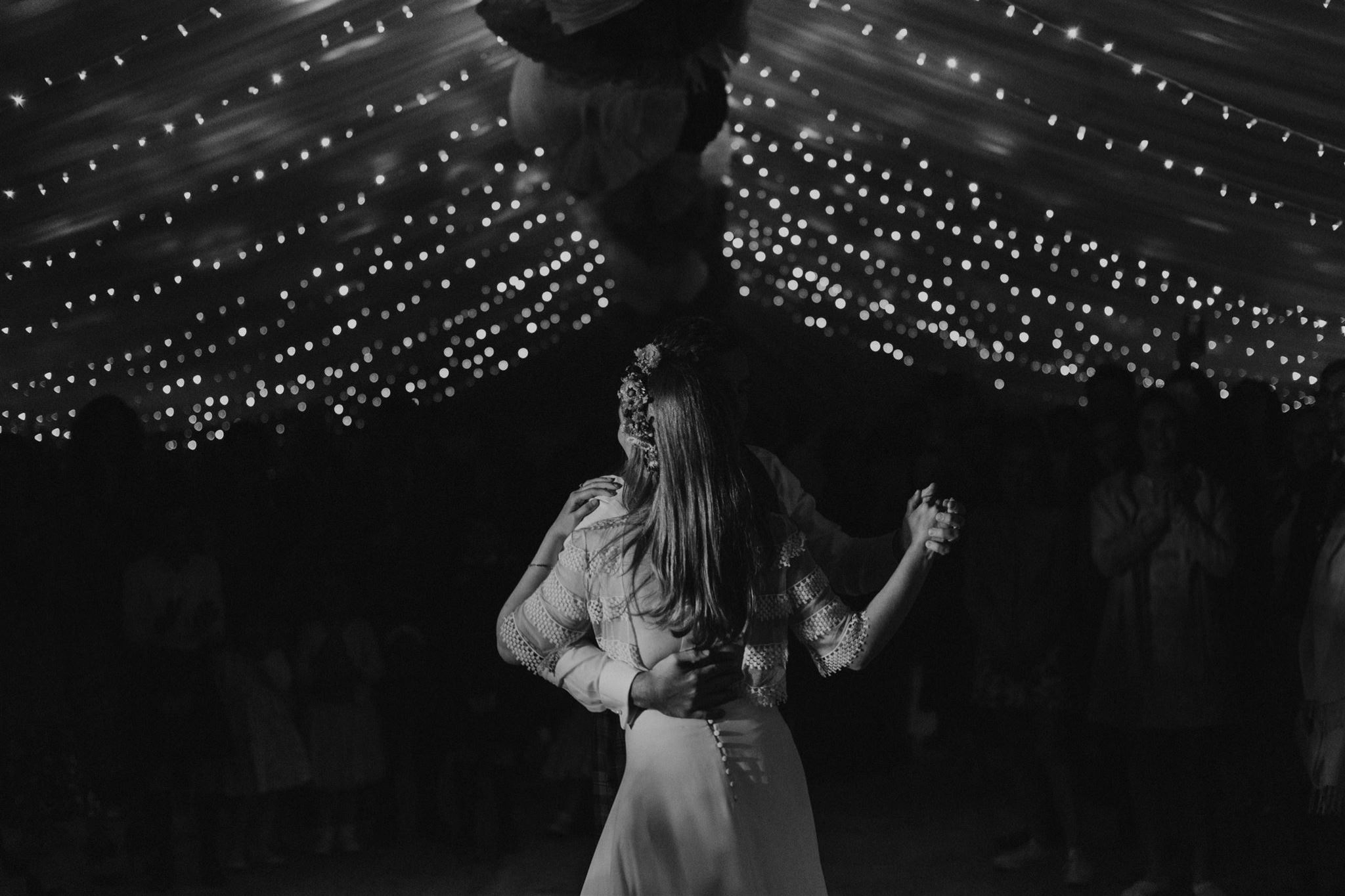 First dance under fairy lights