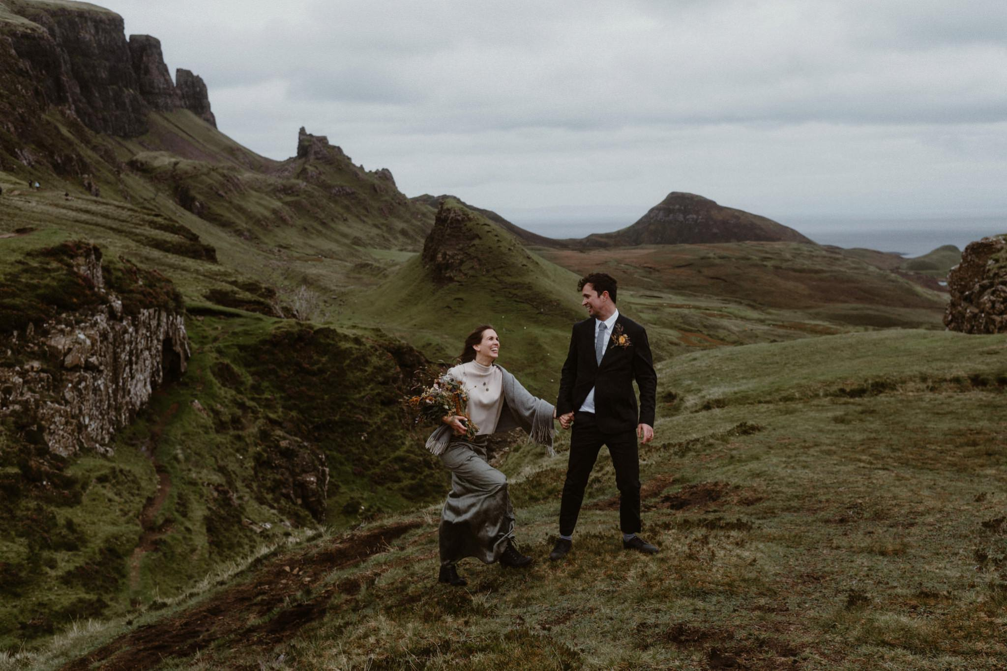 A husband and wife who eloped to Skye walk back from the Quiraing