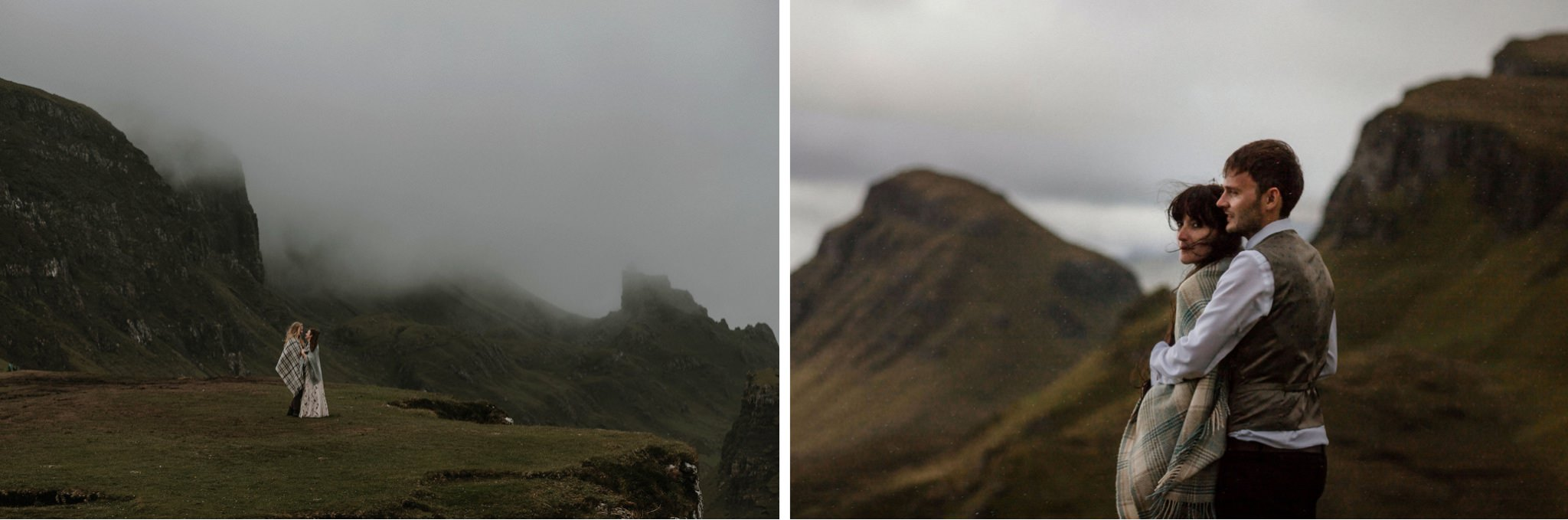 A couple brace for the weather at the Quiraing on the Isle of Skye