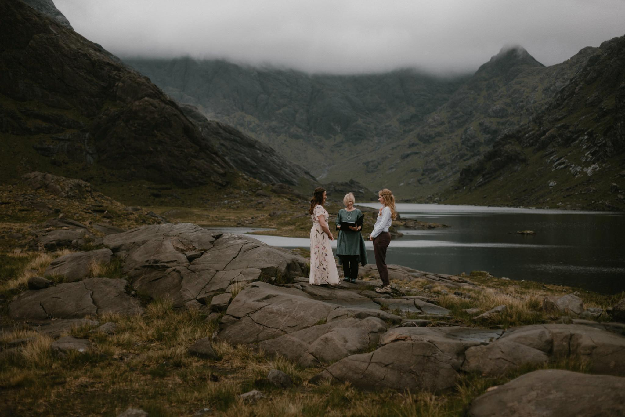 A couple become wife and wife at Loch Coruisk on the Isle of Skye