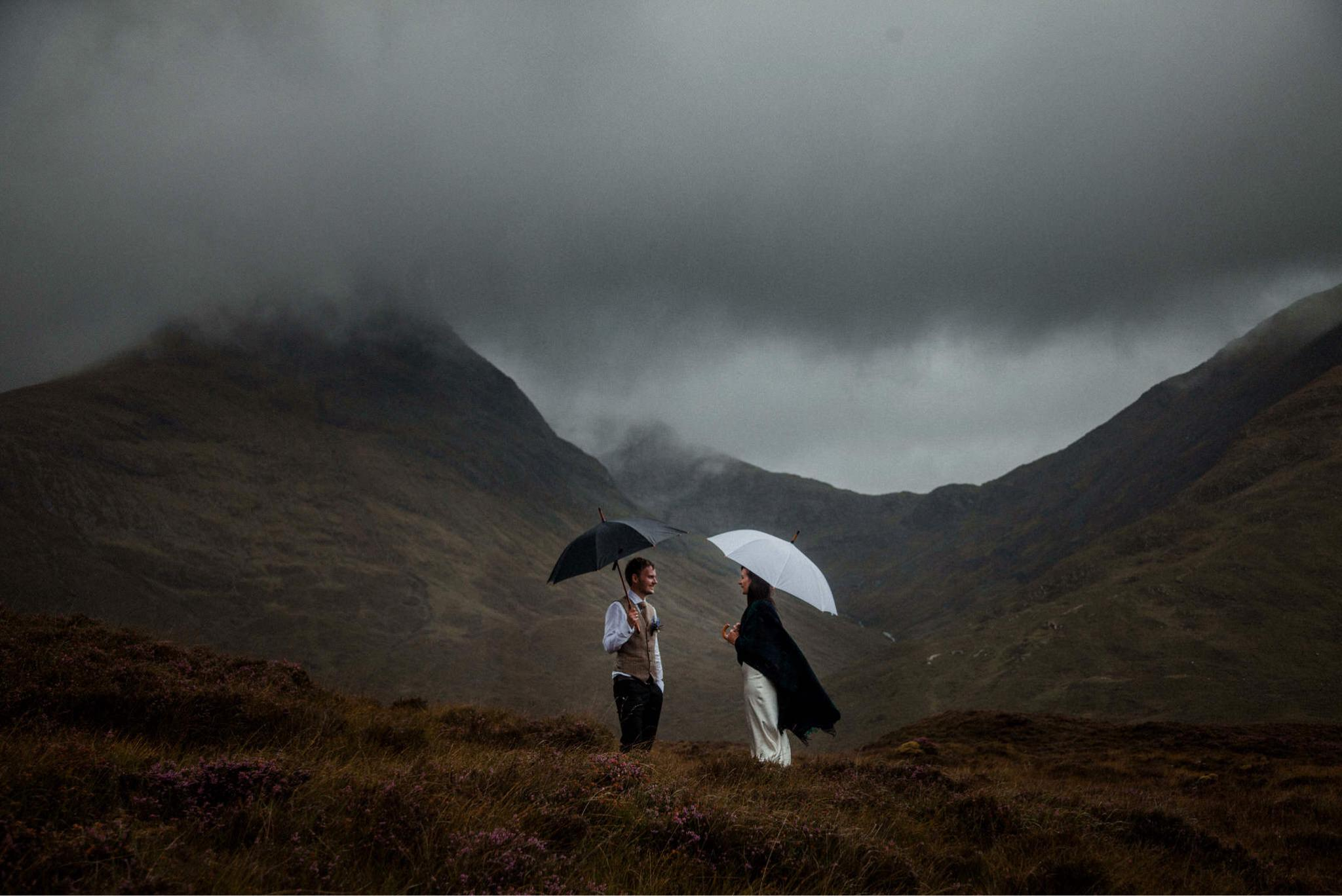 A couple who eloped to the Isle of Skye brave the weather