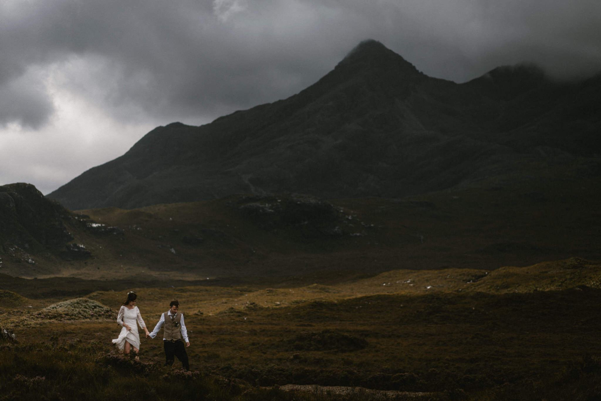 A couple elope near the Cuillin on the Isle of Skye