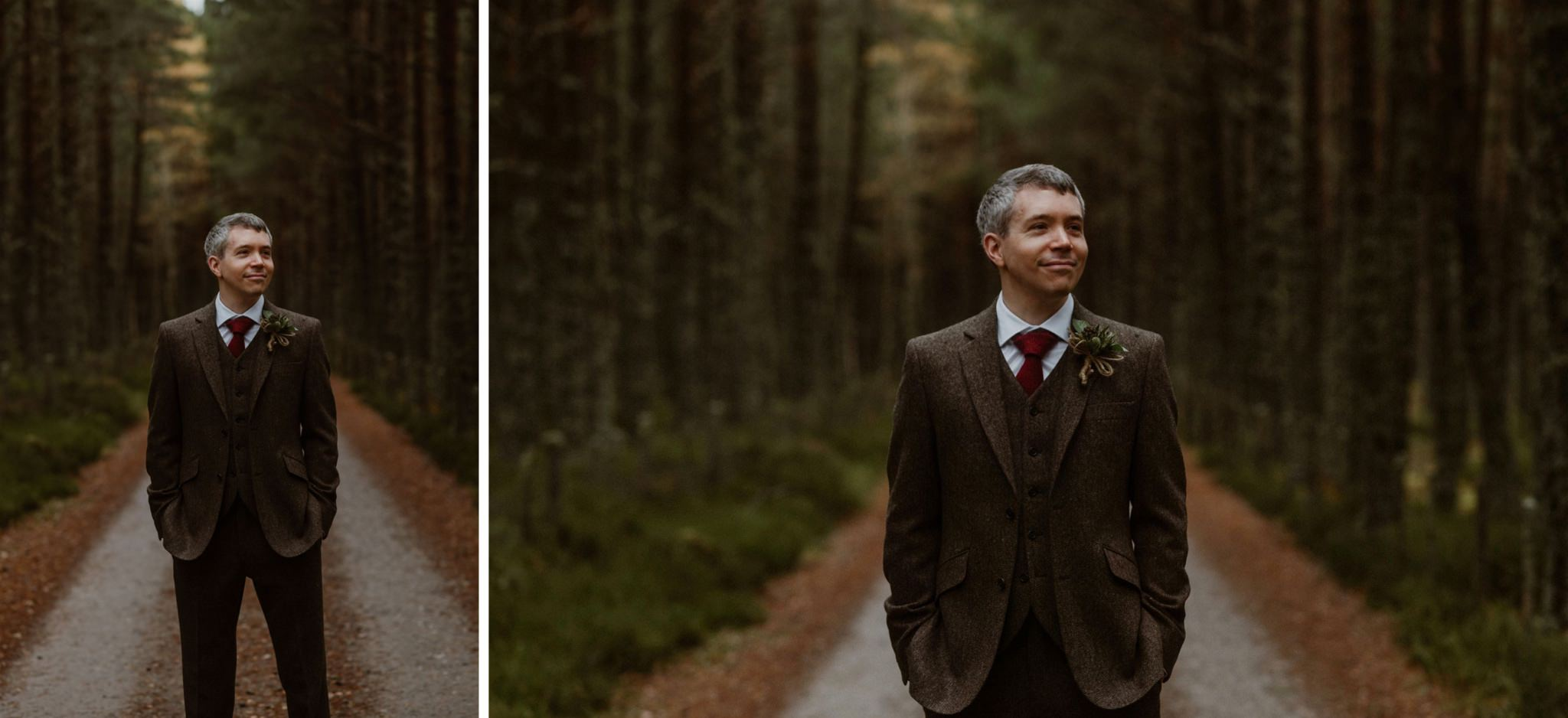 A groom wearing a tweed suit in the Cairngorm forest Scotland