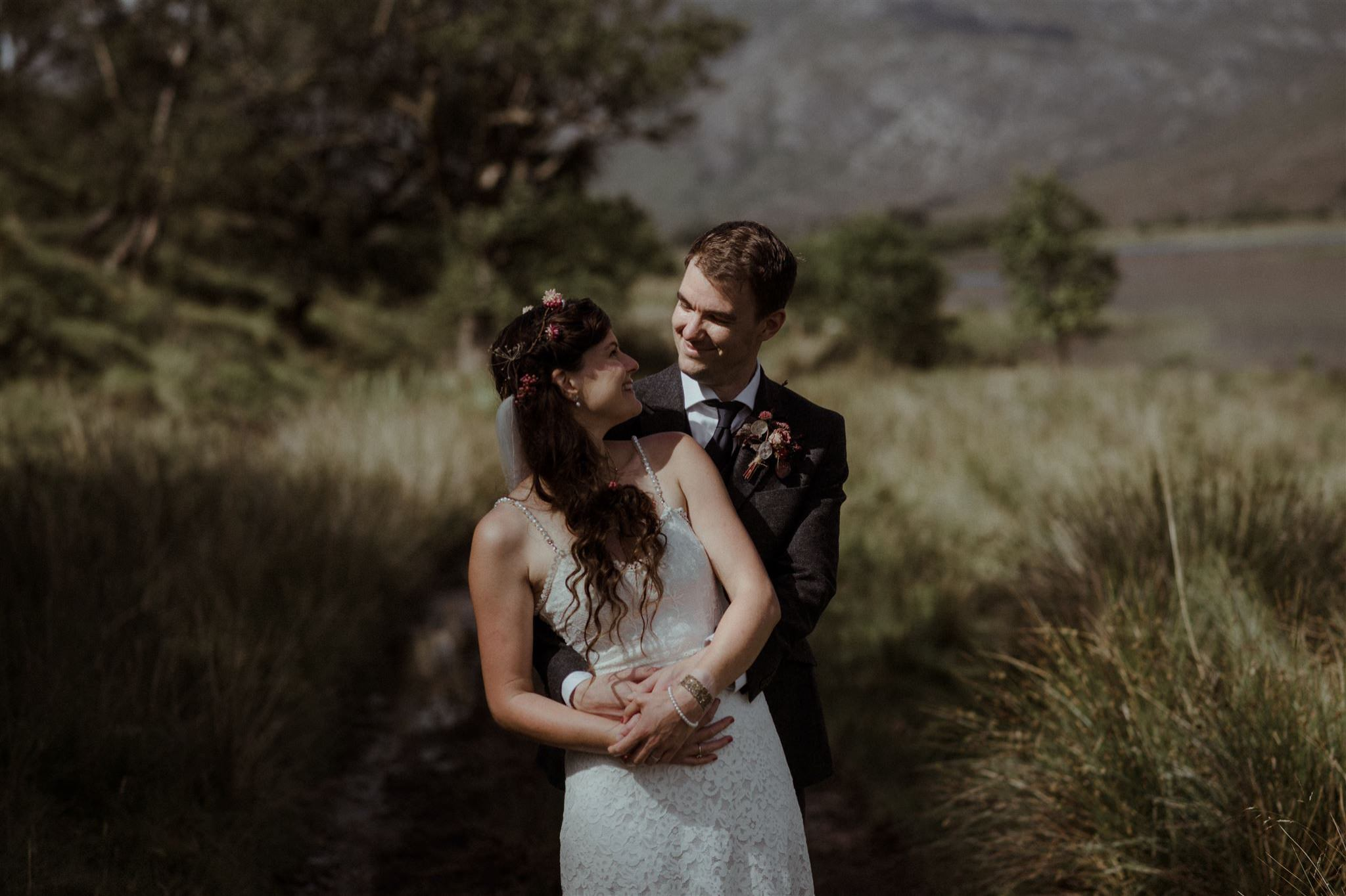Couple in wedding dress during elopement wedding in the Scottish Highlands