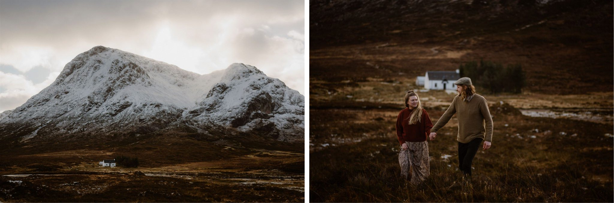 Cottage in Glencoe Scotland with an elopement wedding couple holding hands