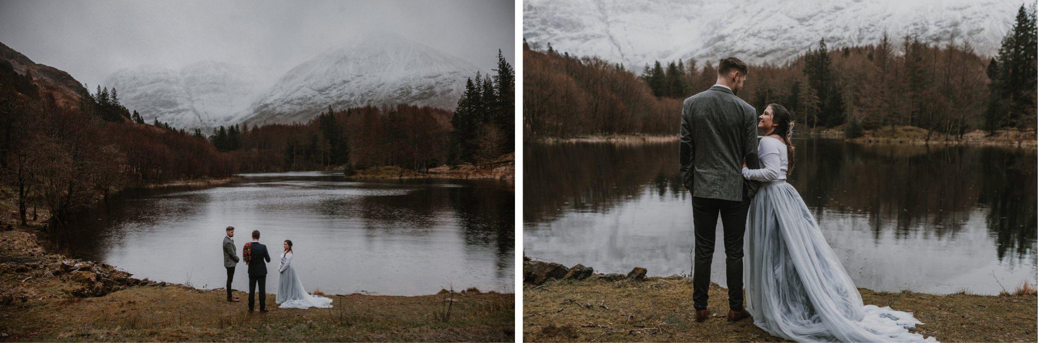 Outdoor humanist elopement wedding ceremony in Glencoe Scotland