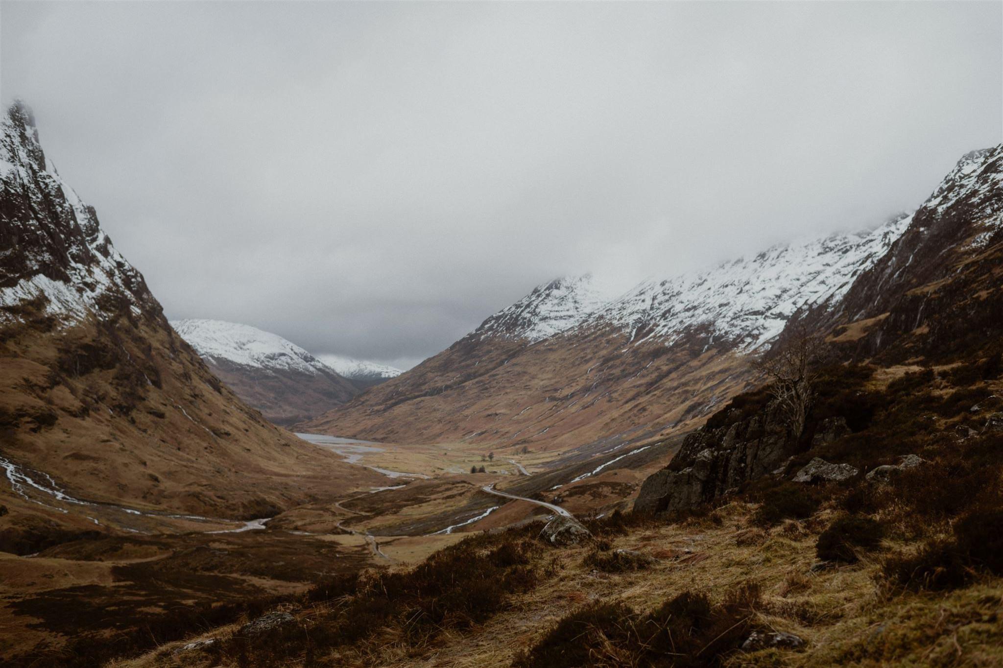 Glencoe Valley mountain landscape in the Scottish Highlands