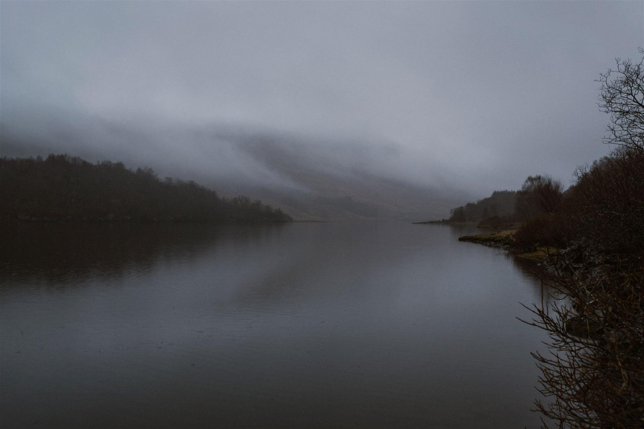 A misty Scottish loch in the Highlands