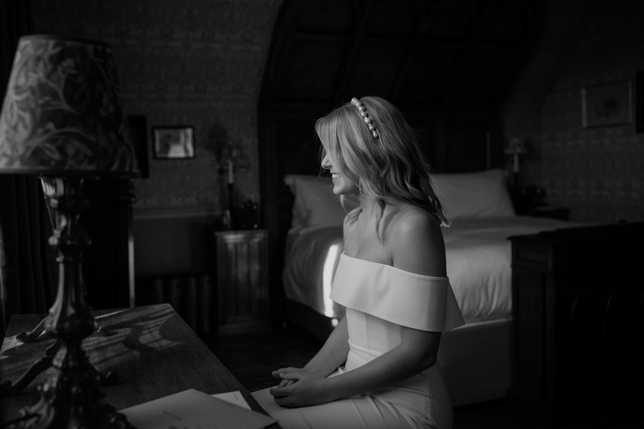 Bride in the bedroom at The Fife Arms in Braemar