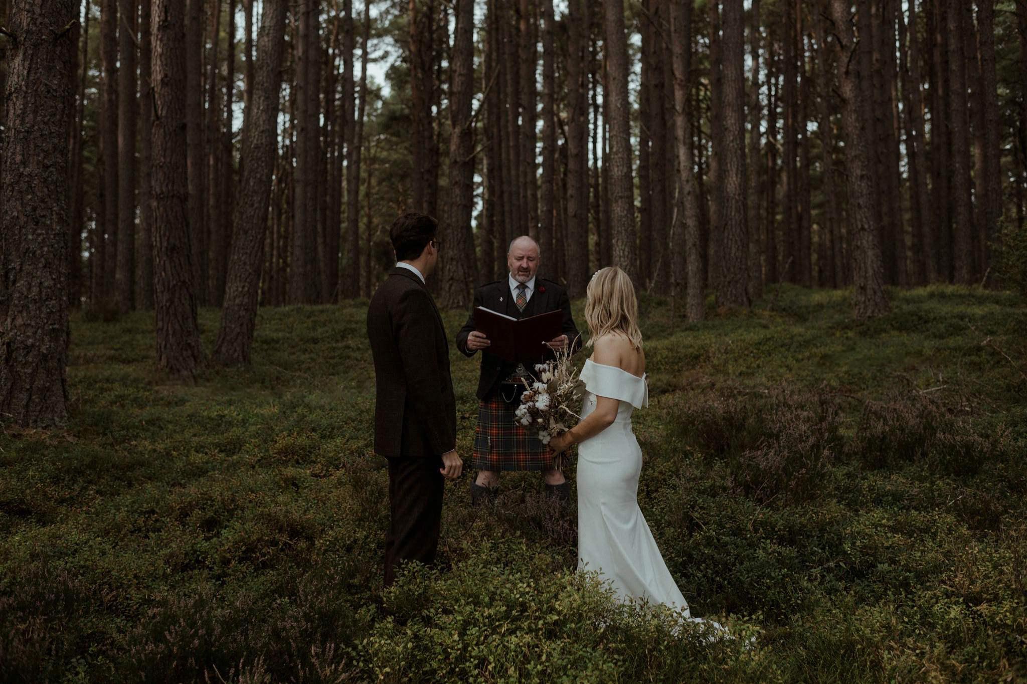 Woodland elopement ceremony at Loch Garten