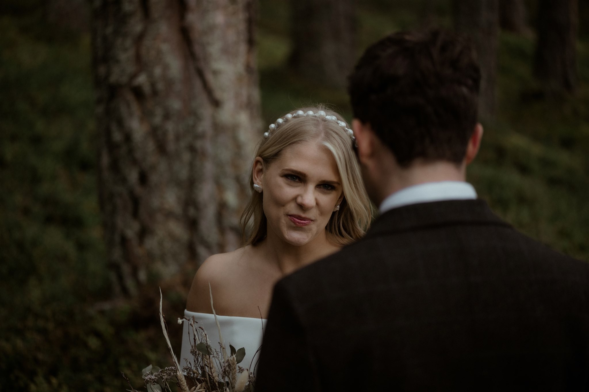 Bride at a Cairngorms woodland wedding ceremony