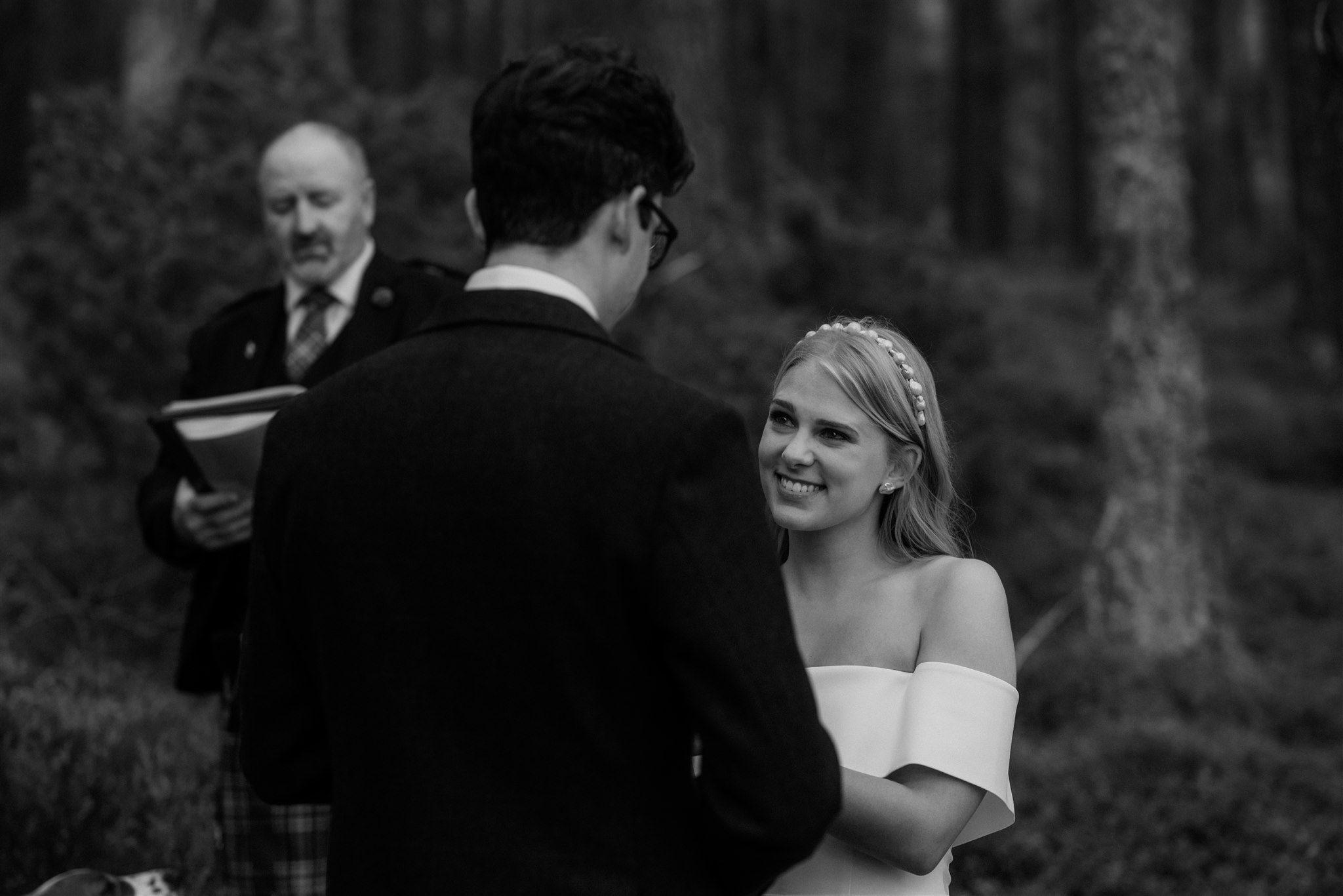 Bride at a Loch Garten elopement ceremony in the Cairngorms