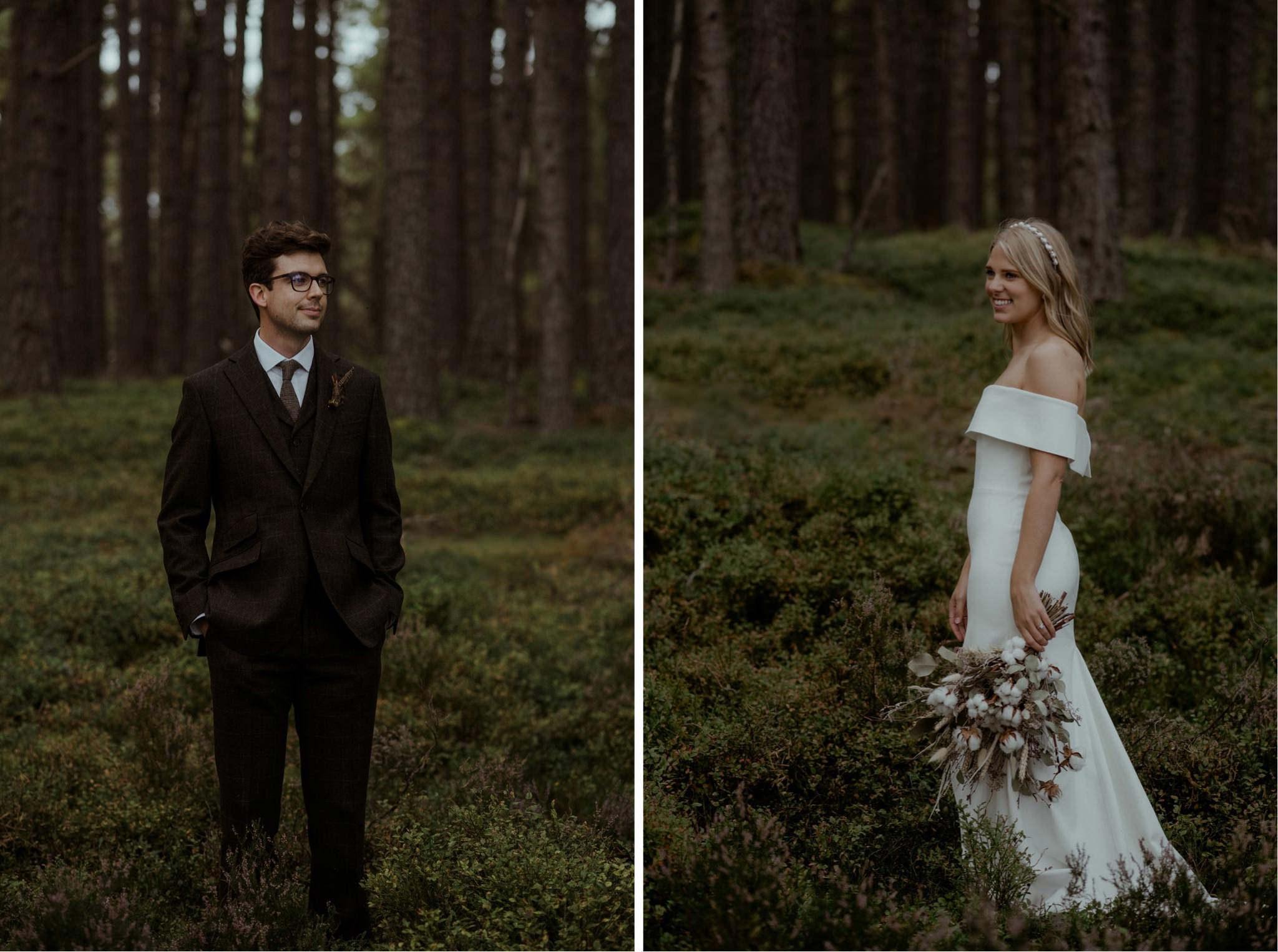Bride and groom at their Loch Garten elopement ceremony