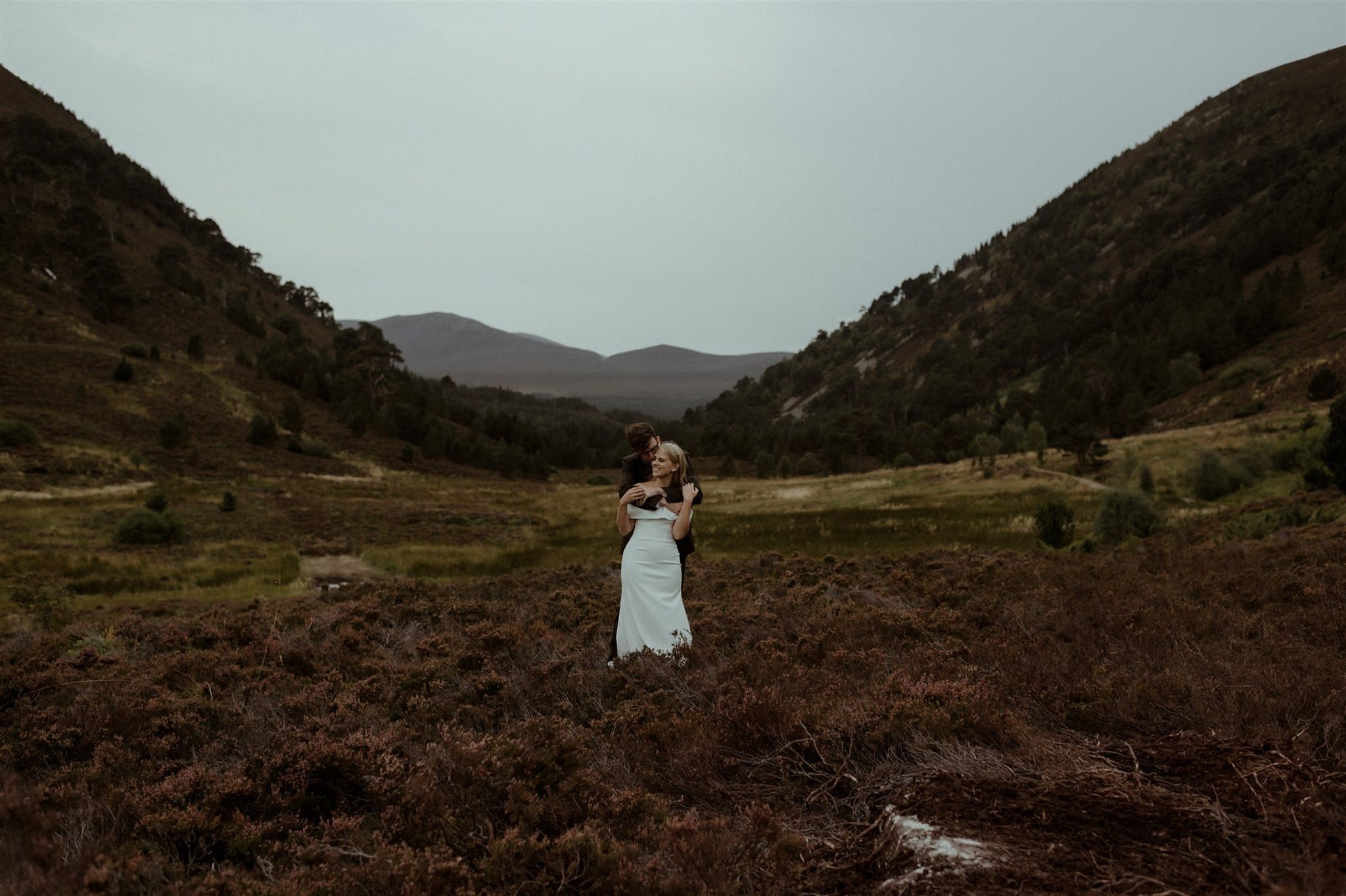 Bride and Groom at Ryvoan in the Cairngorms National Park