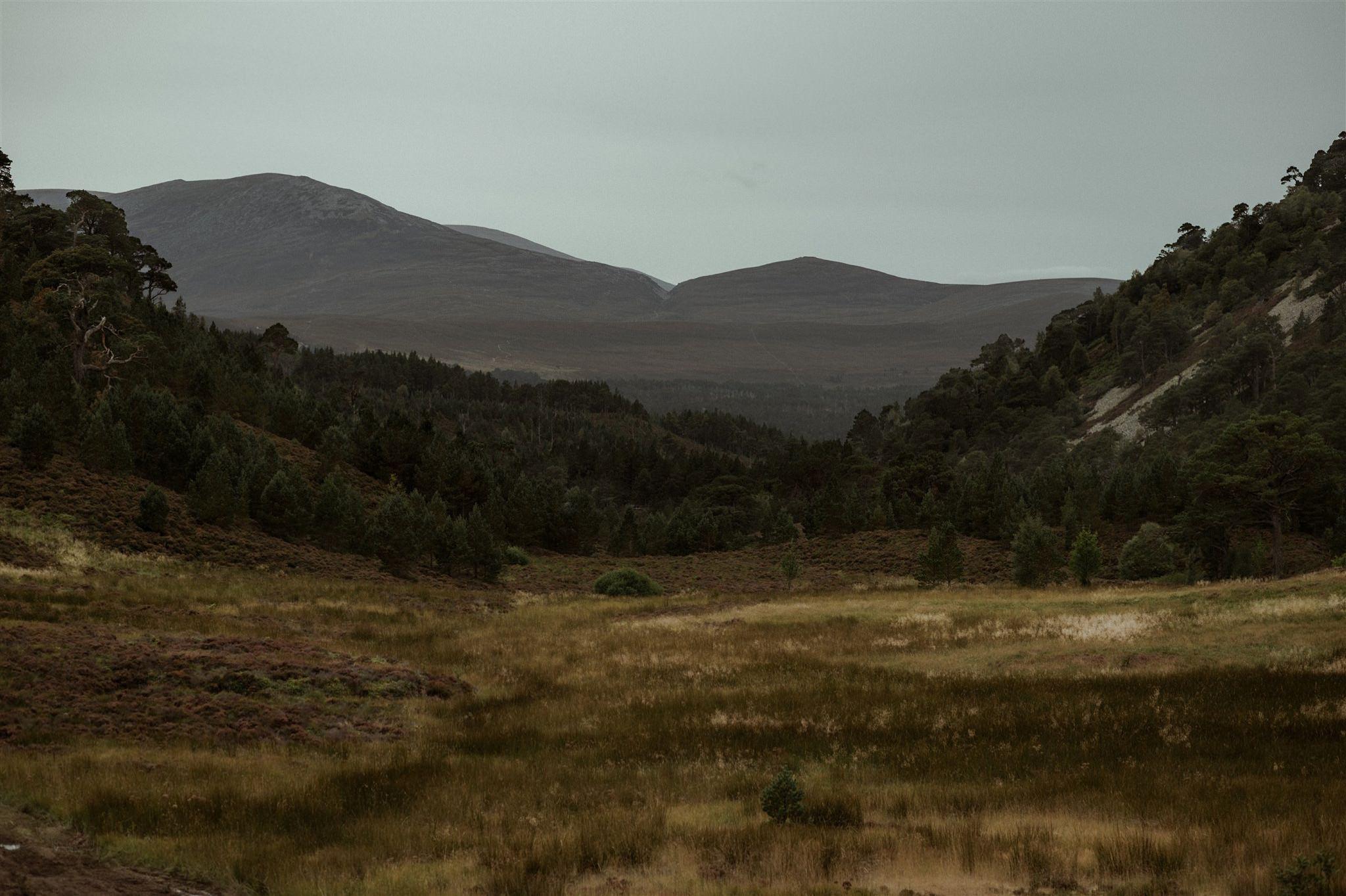 Mountain landscape at Glen More Cairngorms National Park