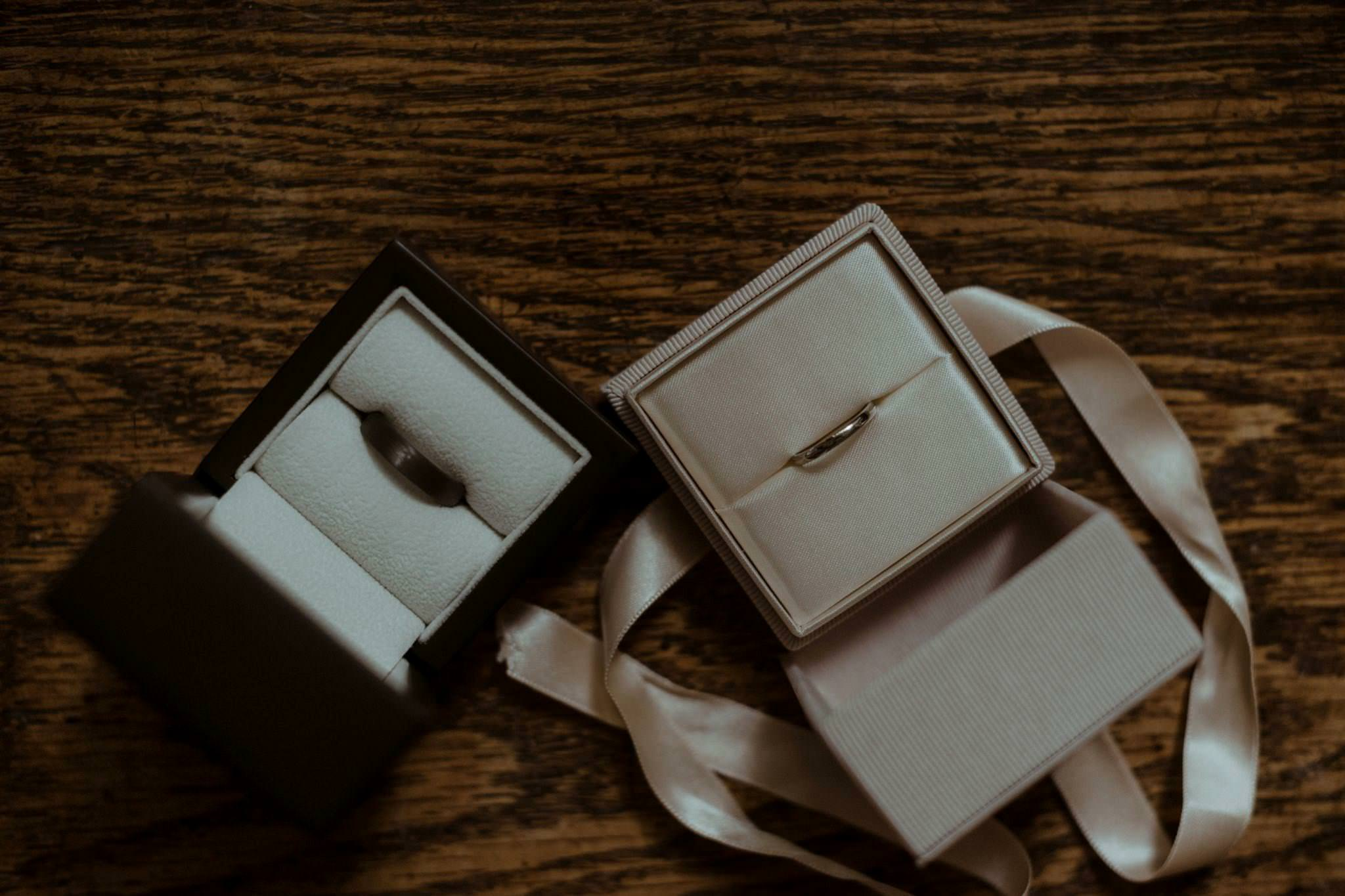 Wedding rings on table at a Glencoe elopement