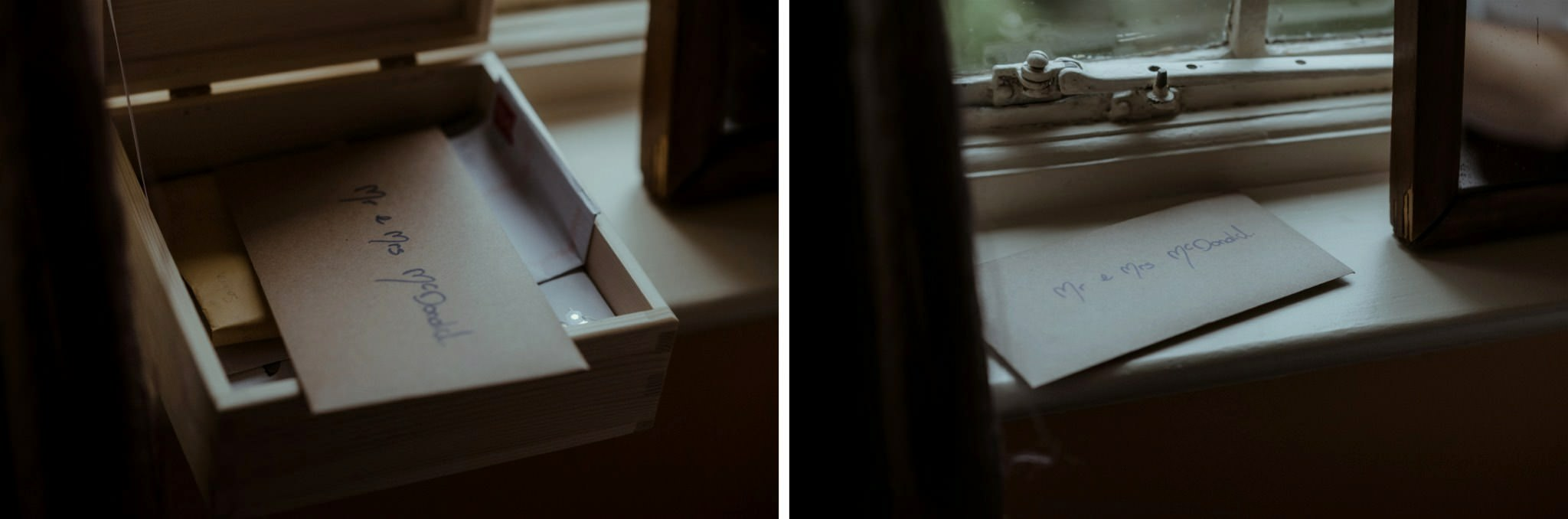 Letters on windowsill during a Scottish elopement wedding in Glencoe