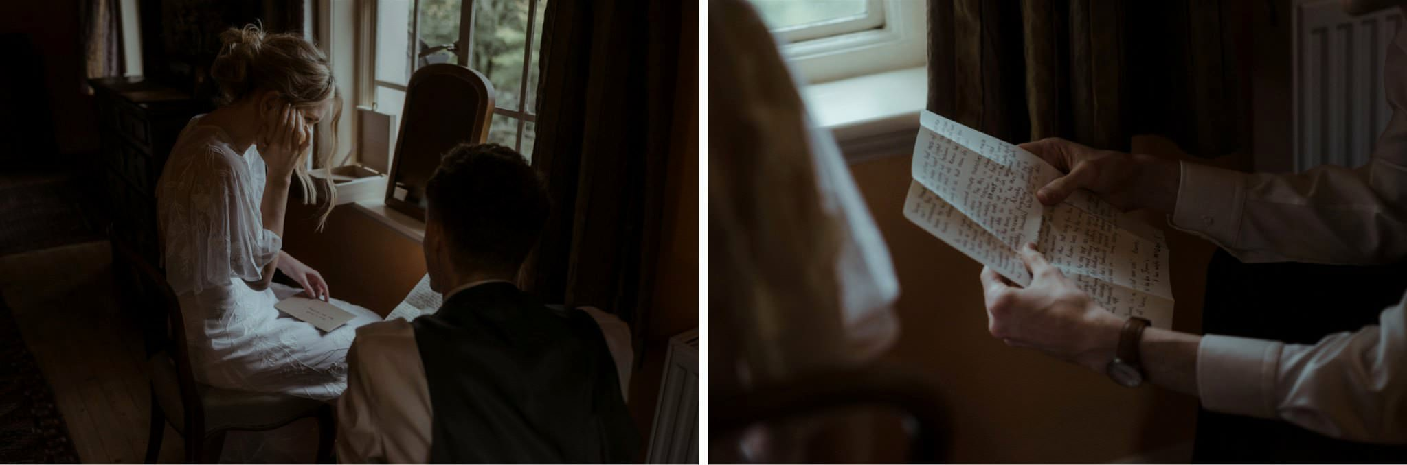 Bride and groom reading cards during their Glencoe elopement wedding