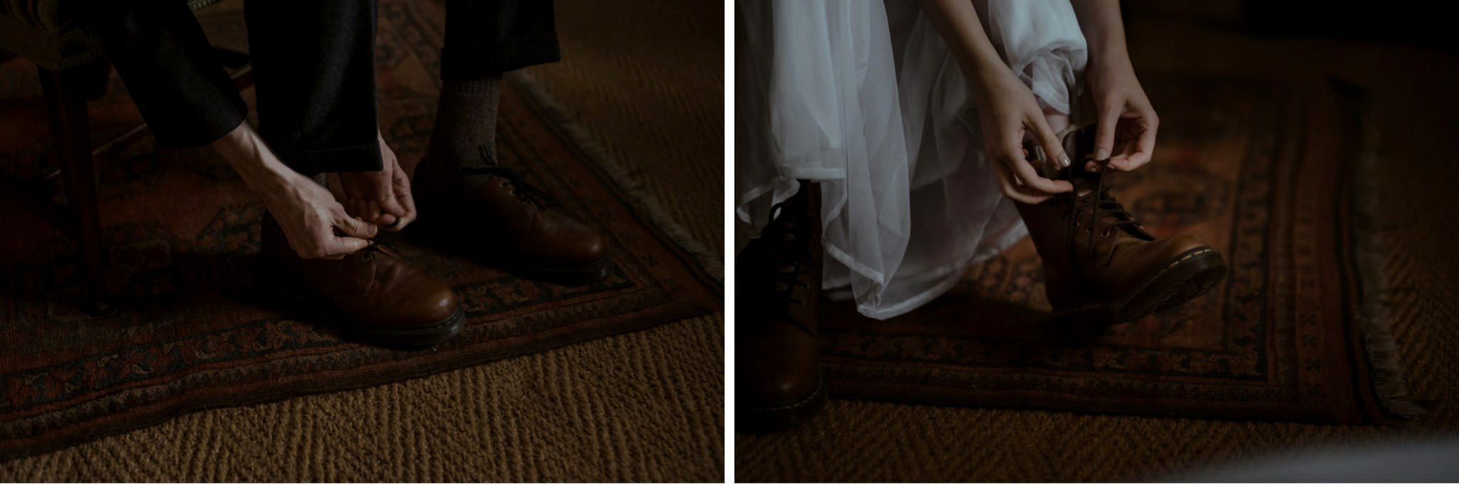 Bride and groom putting their shoes on ready to elope in Glencoe, Scotland