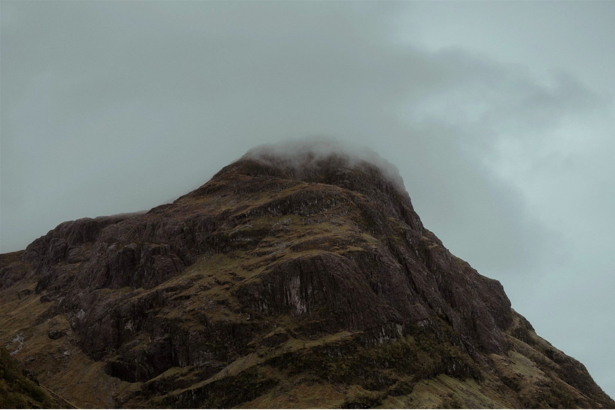 Misty mountain backdrop for a Glencoe elopement wedding in the Scottish Highlands