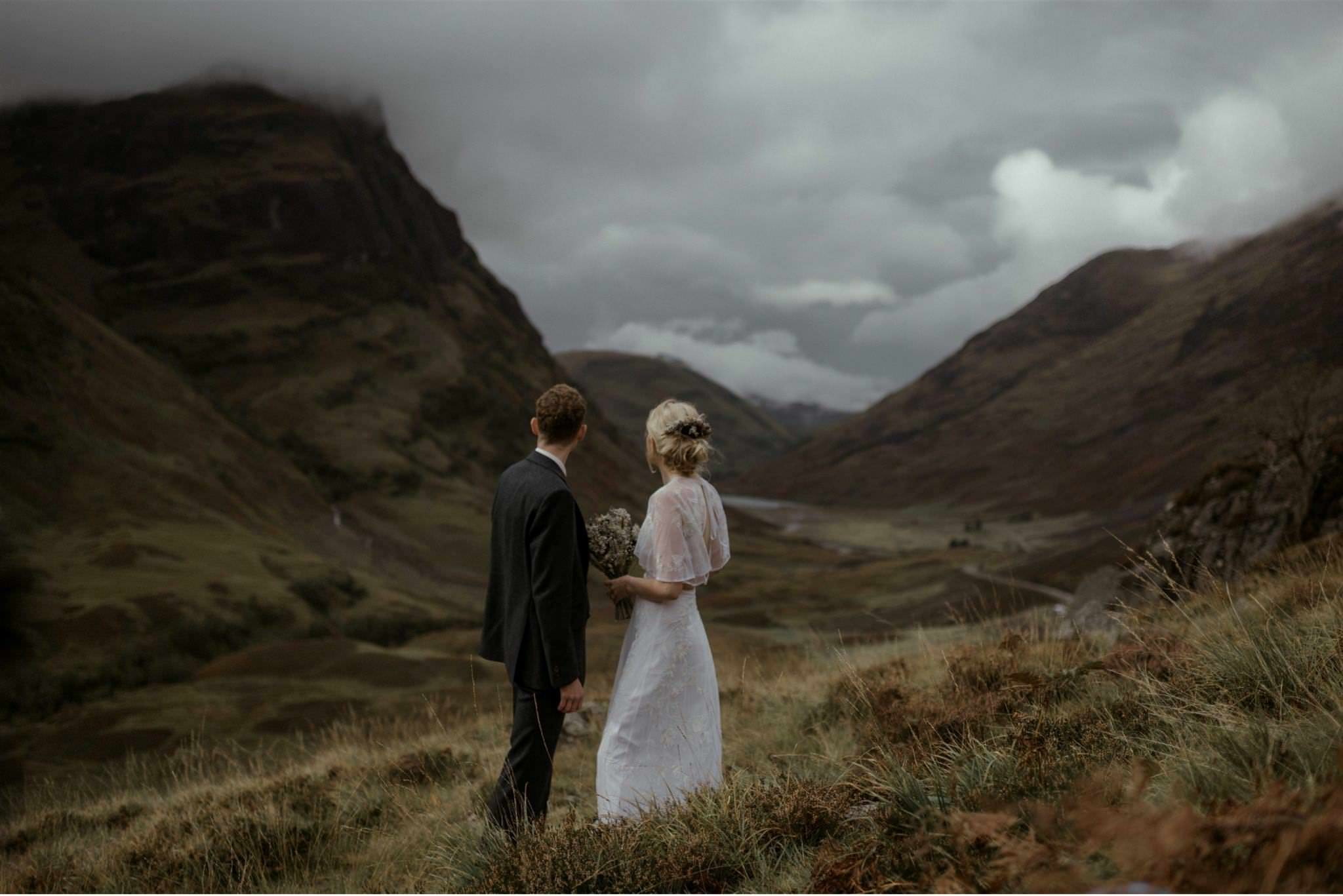 Bride and groom at a Glencoe elopement wedding for two in Scotland