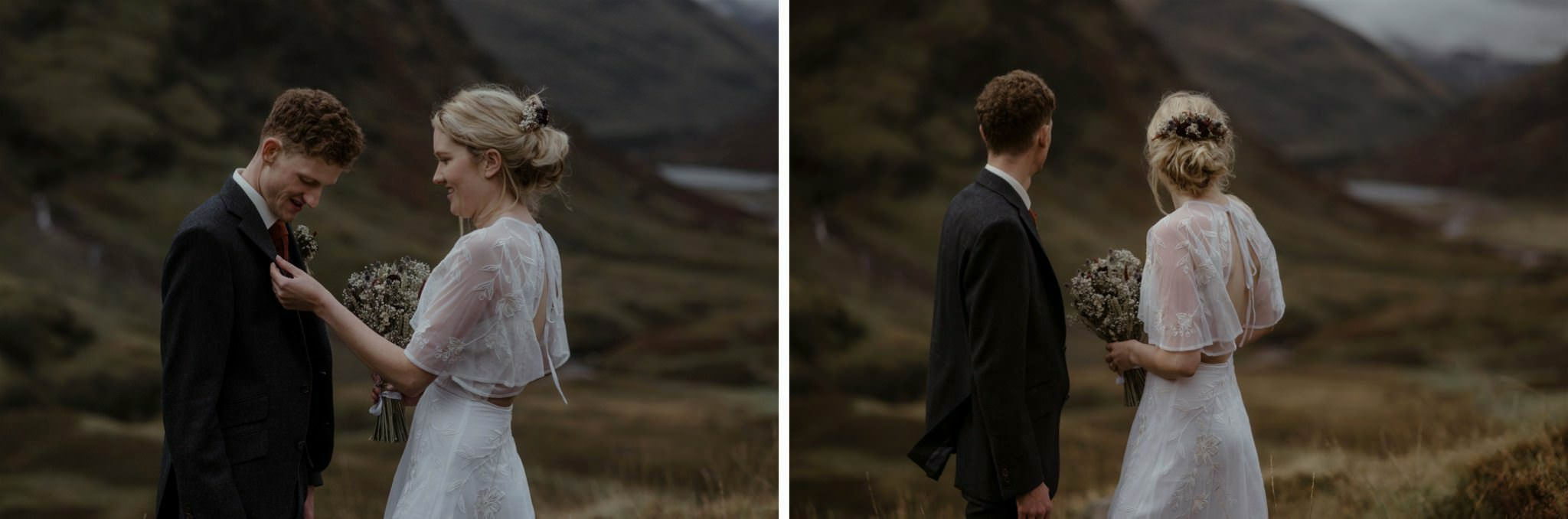 Bride fixes groom's outfit during their wedding for two in Scotland