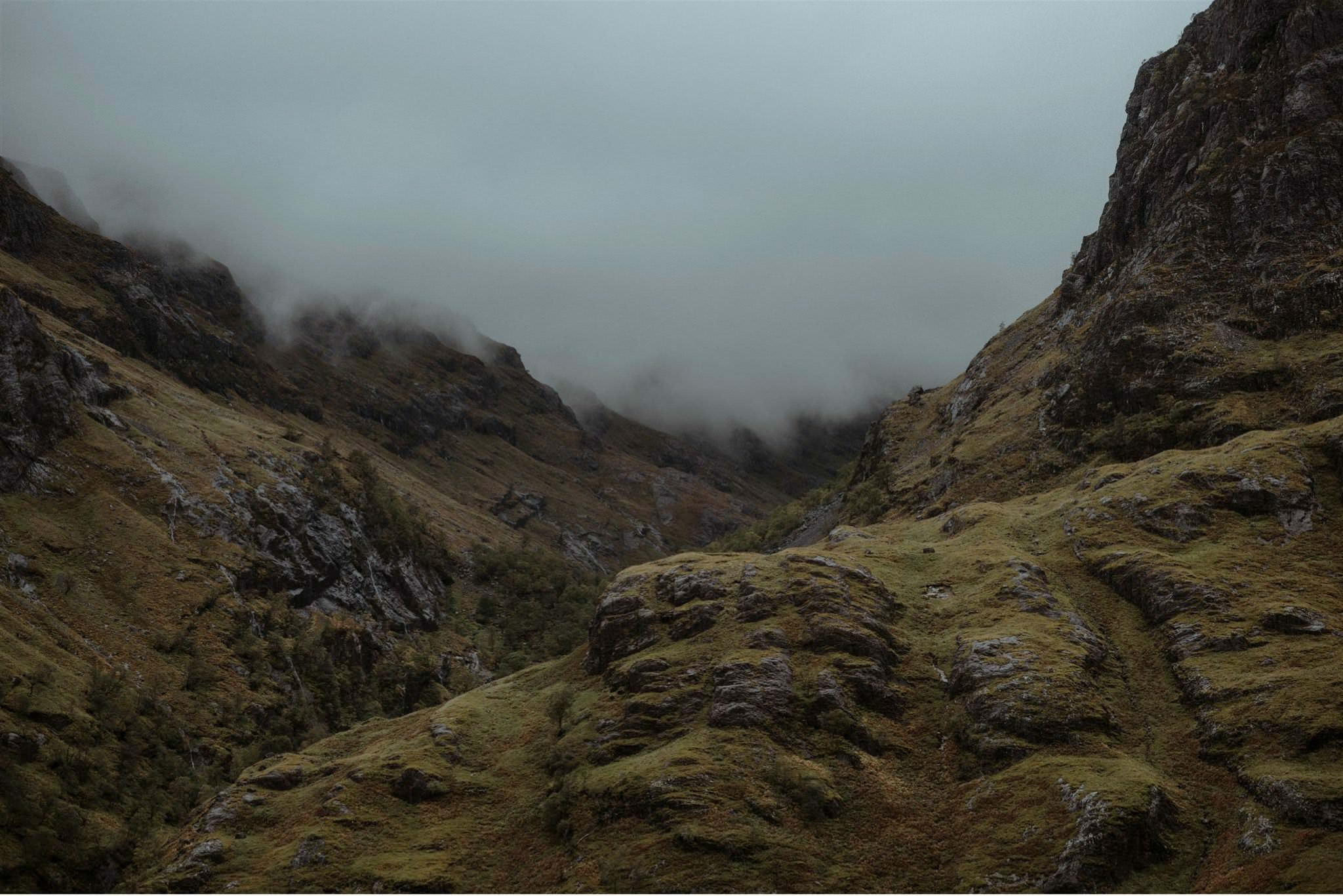 Misty mountains in the Scottish Highlands