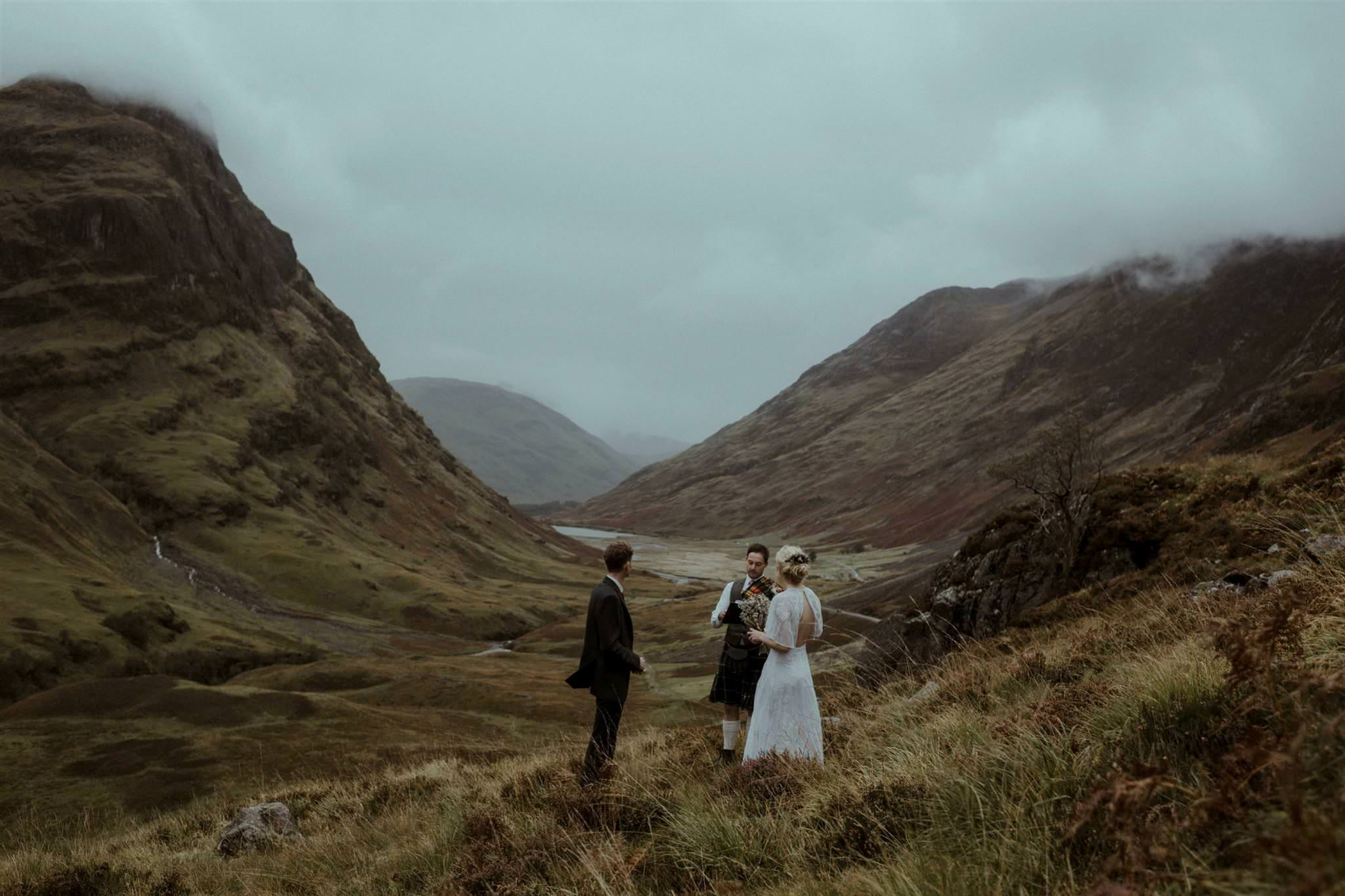 Intimate outdoor elopement wedding ceremony in Glencoe Scotland