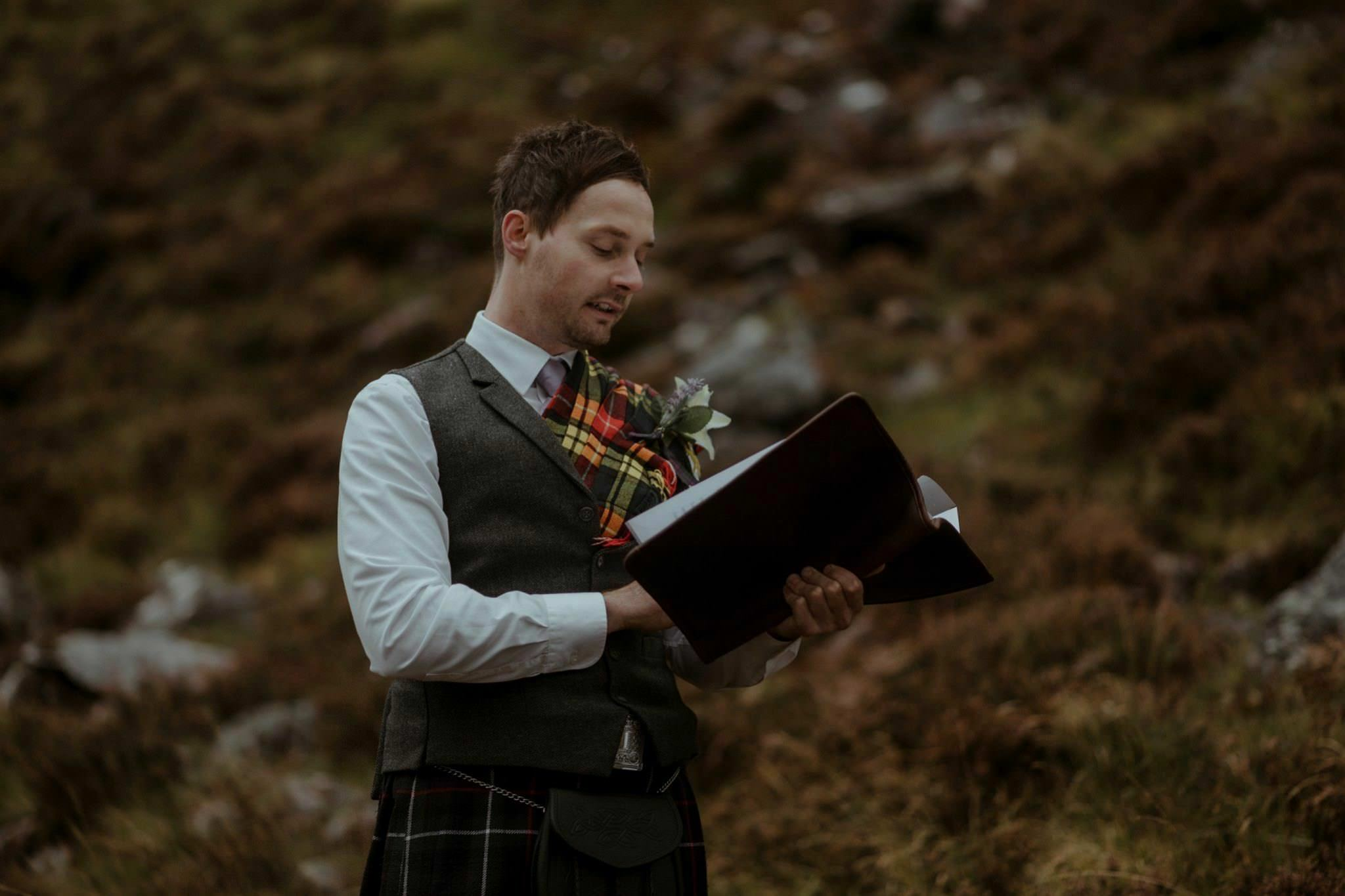 Humanist celebrant Ashton Easter at Glencoe elopement in Scotland