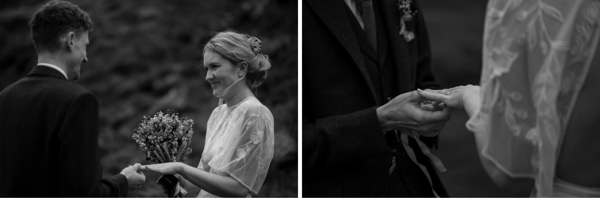 Bride and groom exchange rings during a Scottish elopement wedding ceremony in Glencoe