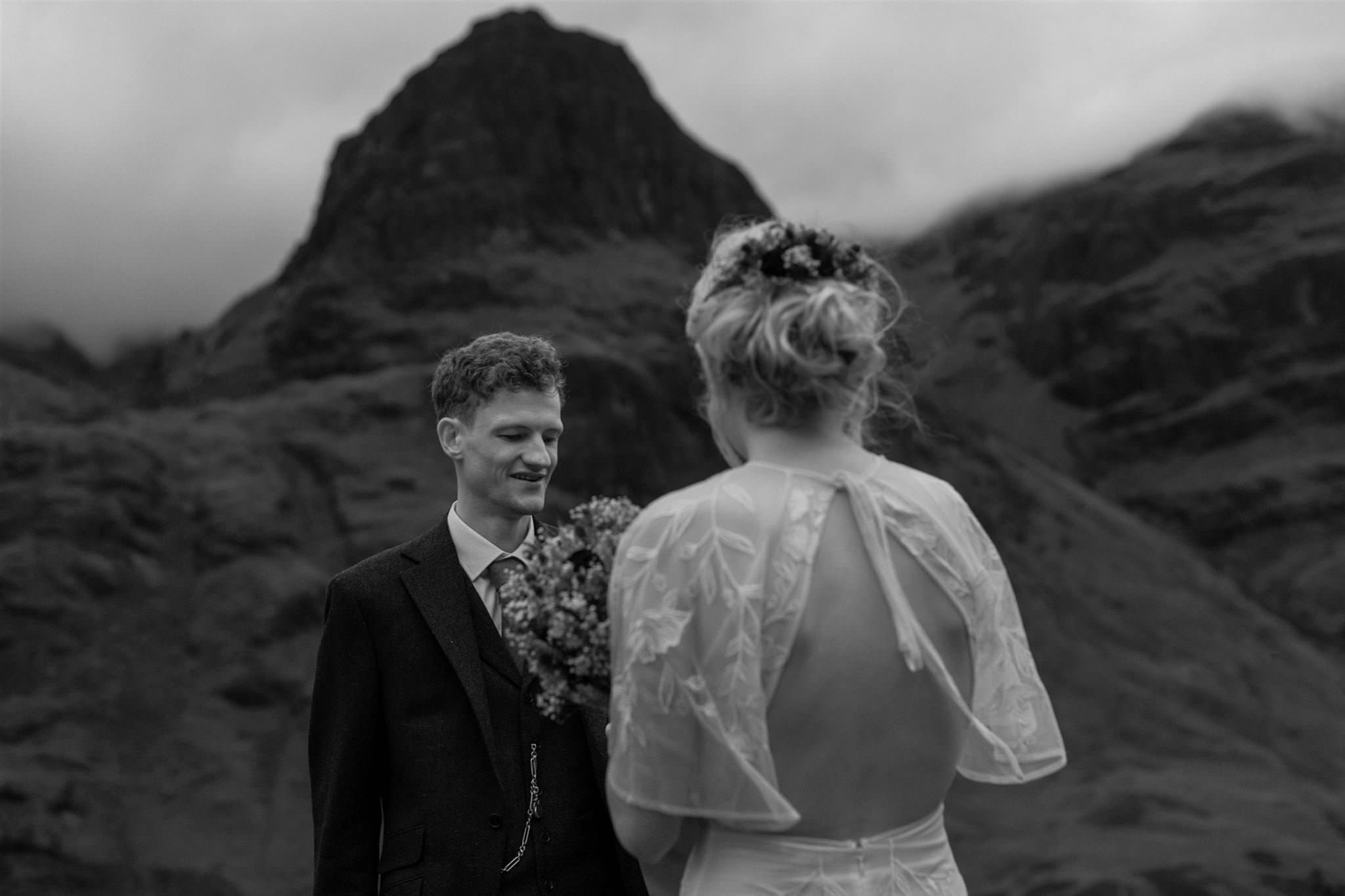 Bride and groom during an intimate elopement wedding for two in Scotland