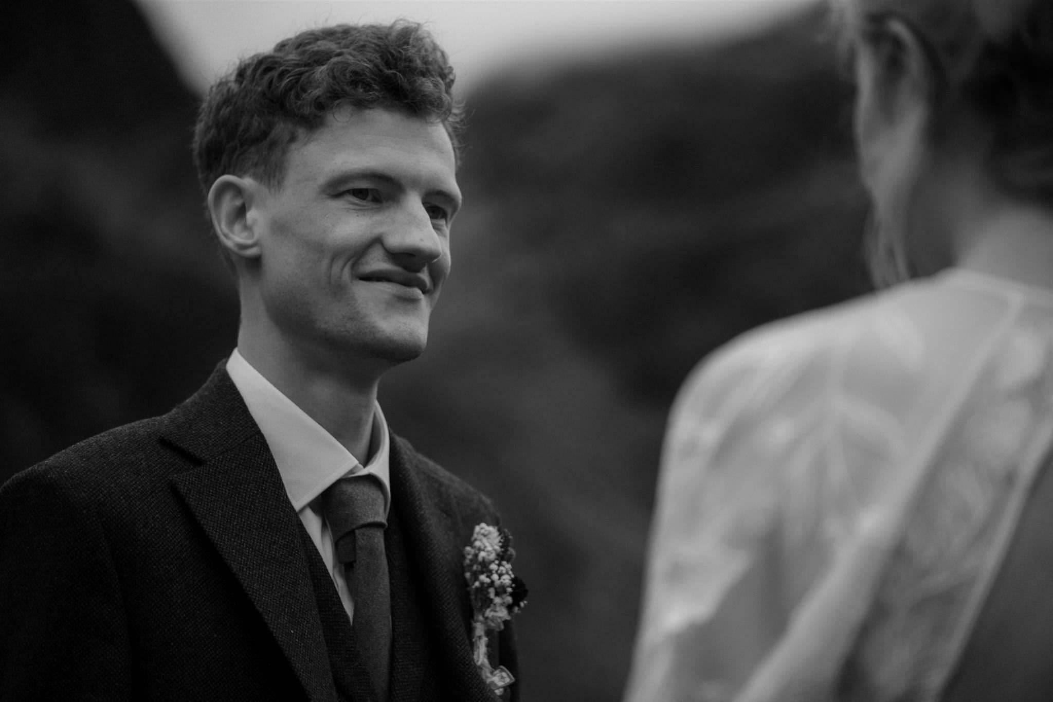 Groom during a Glencoe elopement wedding ceremony